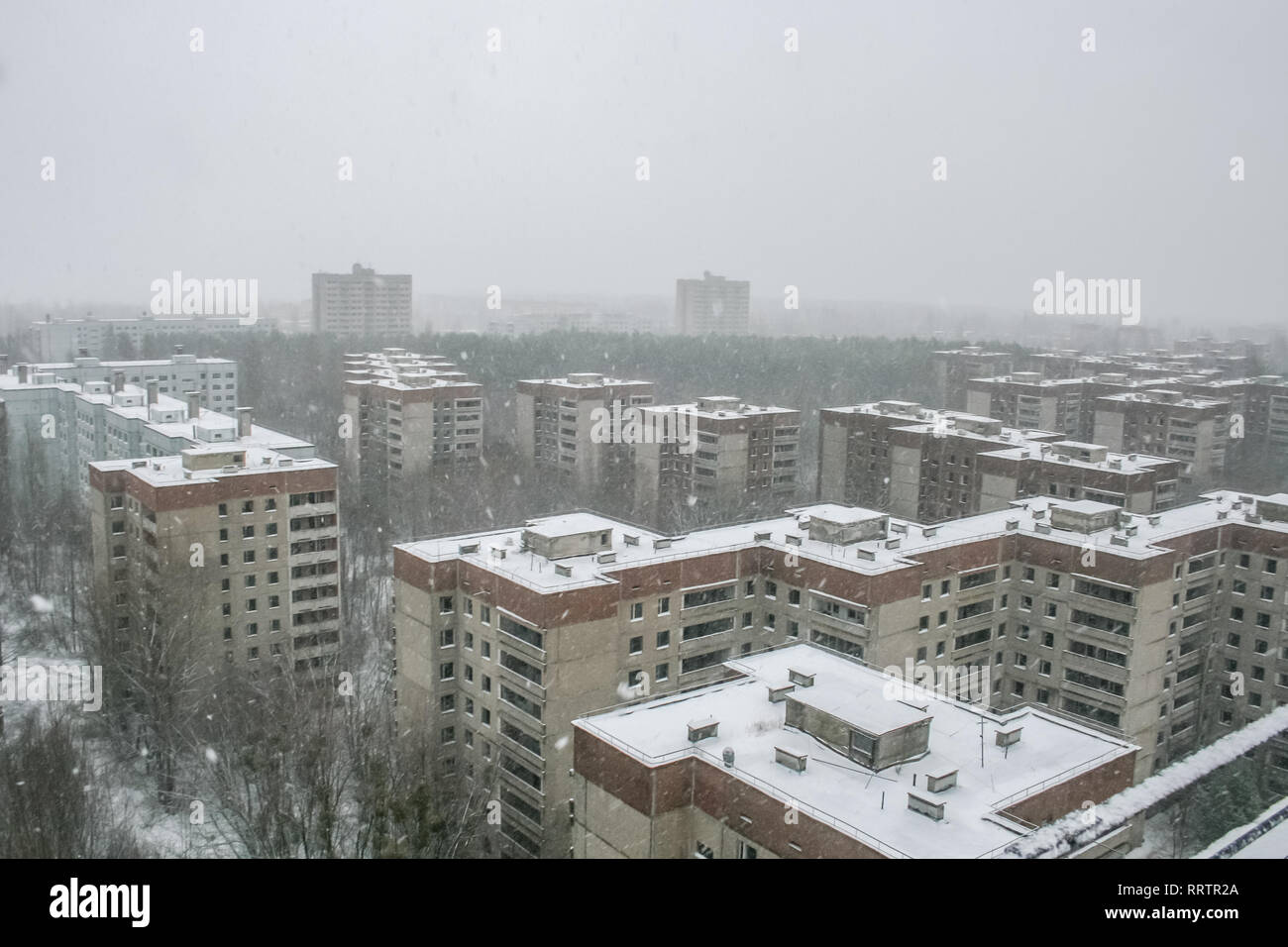Pripyat, the exclusion zone of the Chernobyl disaster. - Stock Image