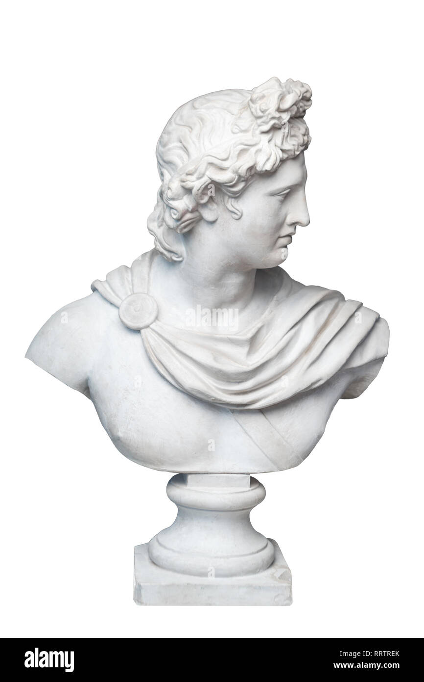 God Apollo bust sculpture. Ancient Greek god of Sun and Poetry Plaster copy of a marble statue isolated on white. - Stock Image