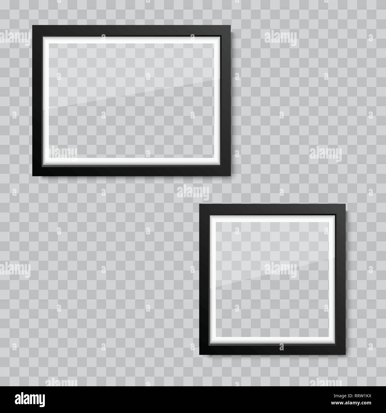 Realistic blank glass picture or photograph frame  Vector
