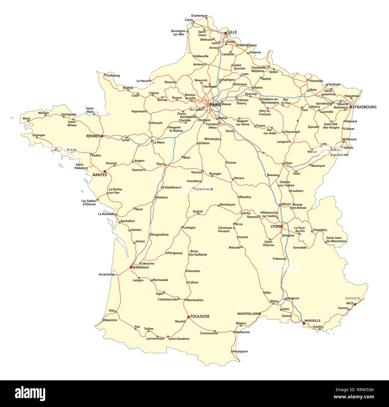 Map of the main roads of the French railway network - Stock Image