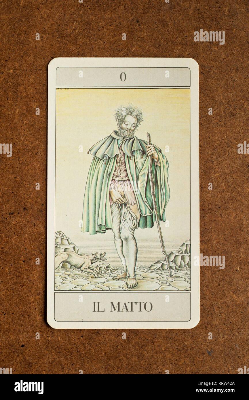 The Fool tarot major arcana - Stock Image