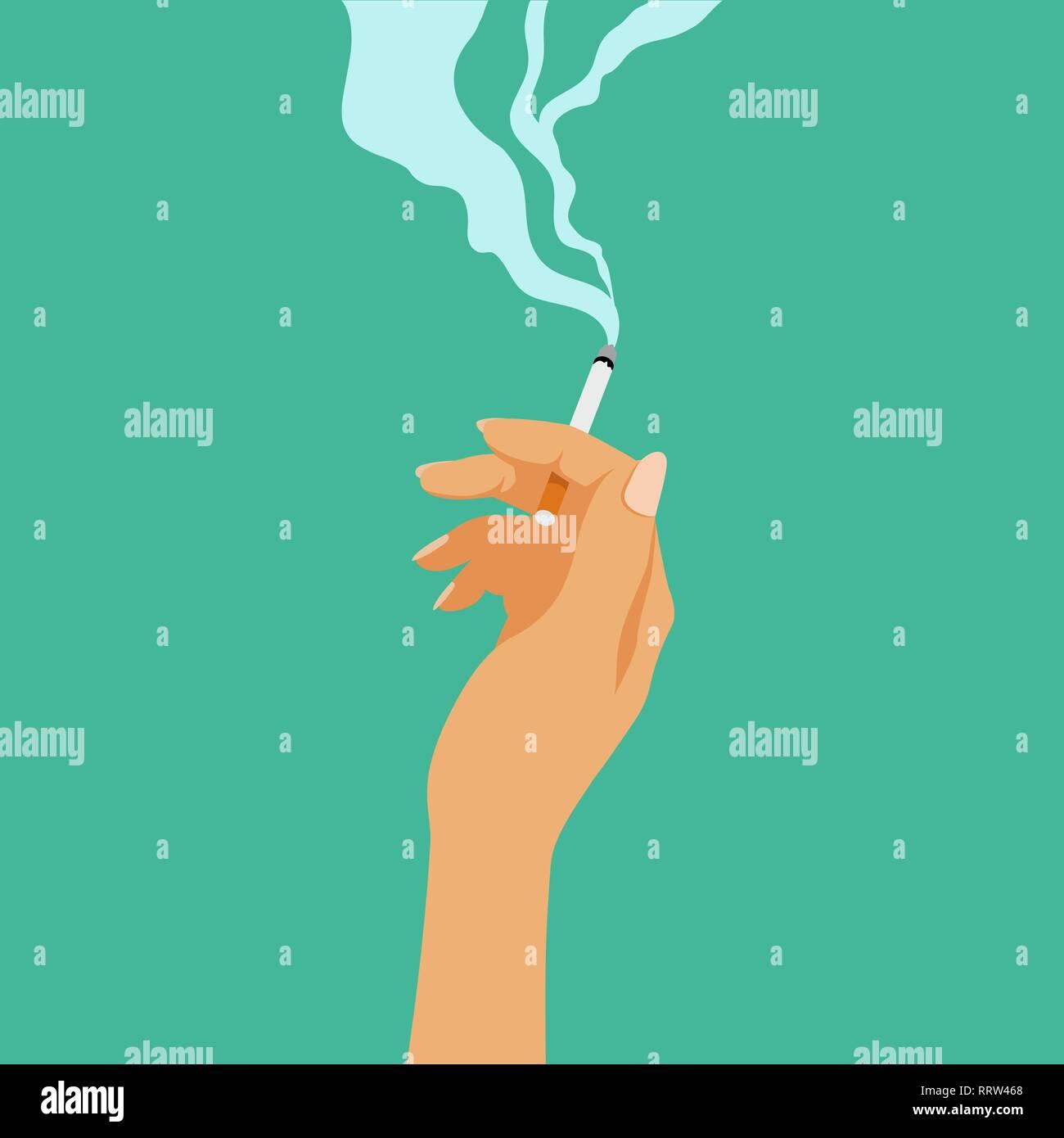 Smoking addiction concept, cigarette in hand, bad habit - Stock Image