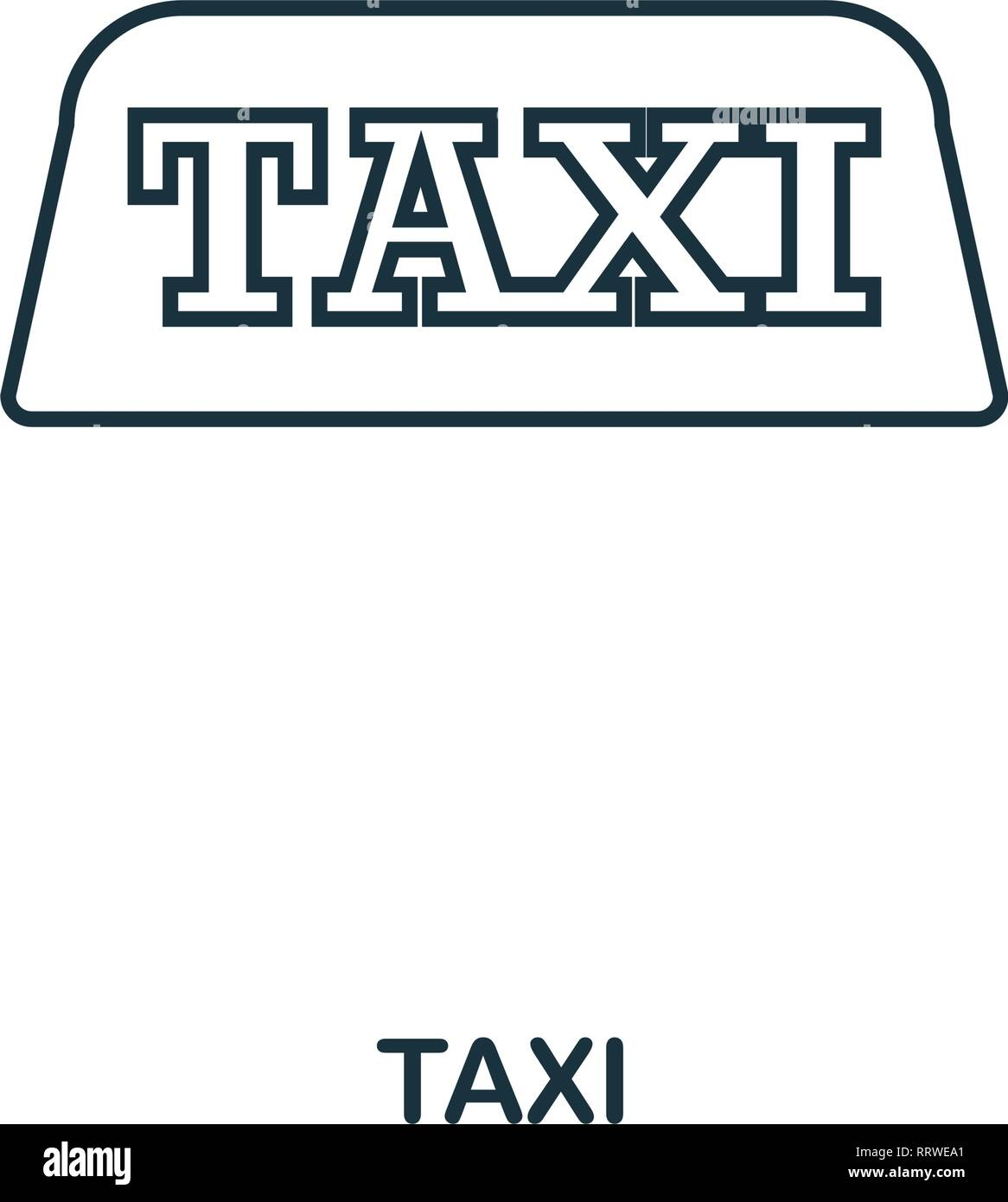 Taxi icon. Outline thin line style from airport icons collection. Pixel perfect Taxi icon for web design, apps, software, print usage Stock Vector