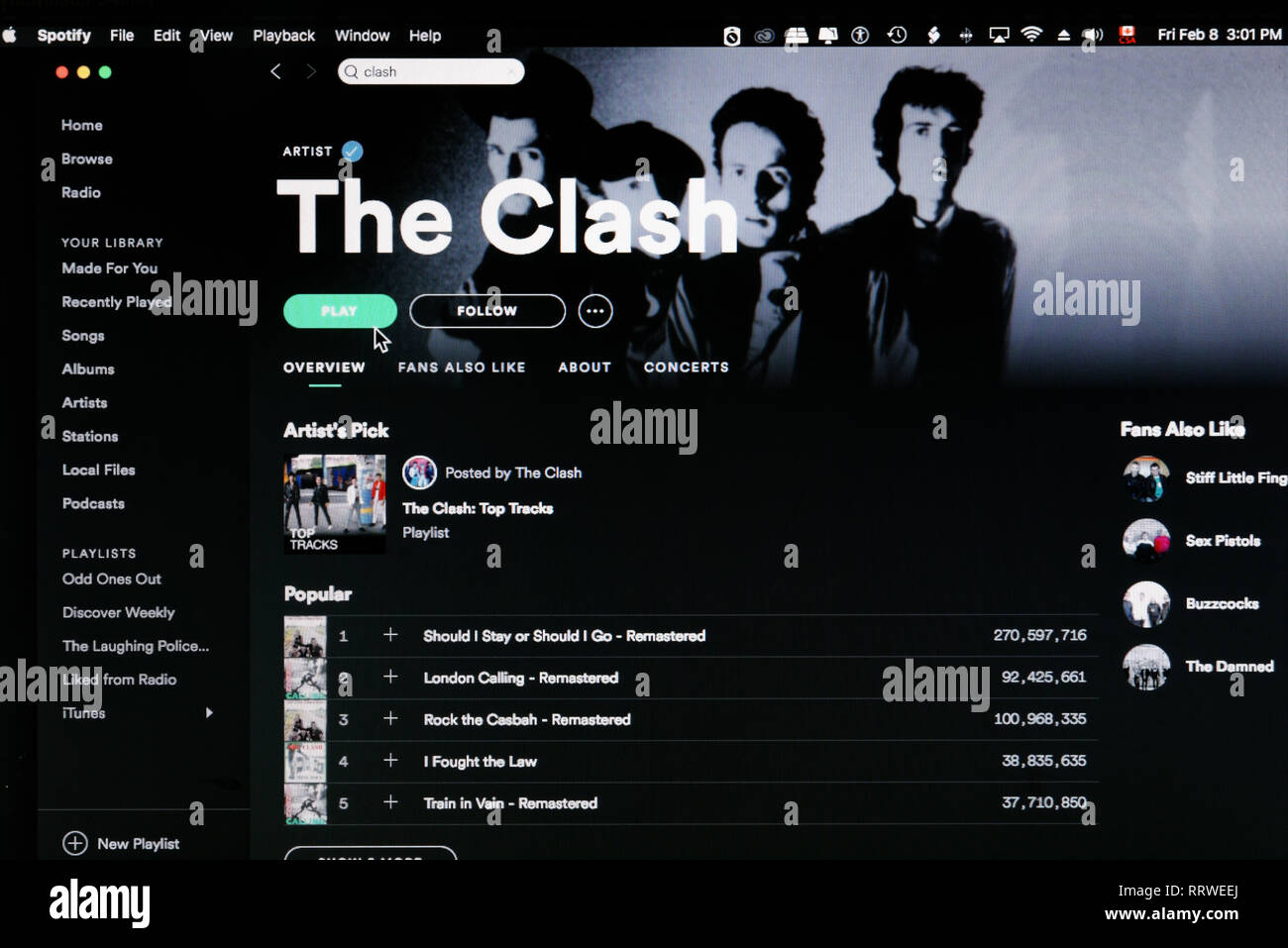 The Clash Spotify home page - Stock Image
