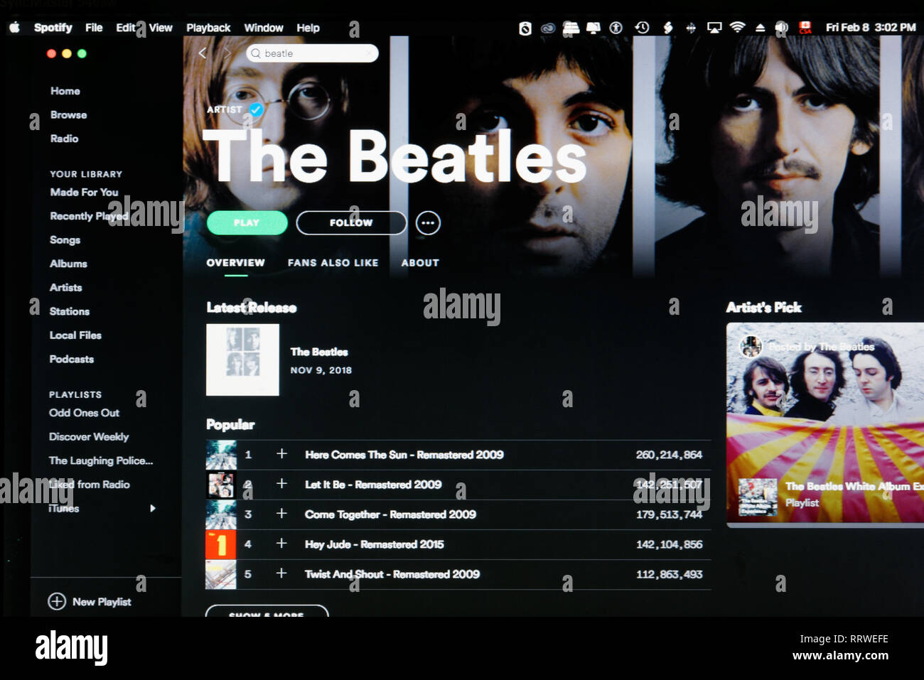 The Beatles Spotify home page - Stock Image