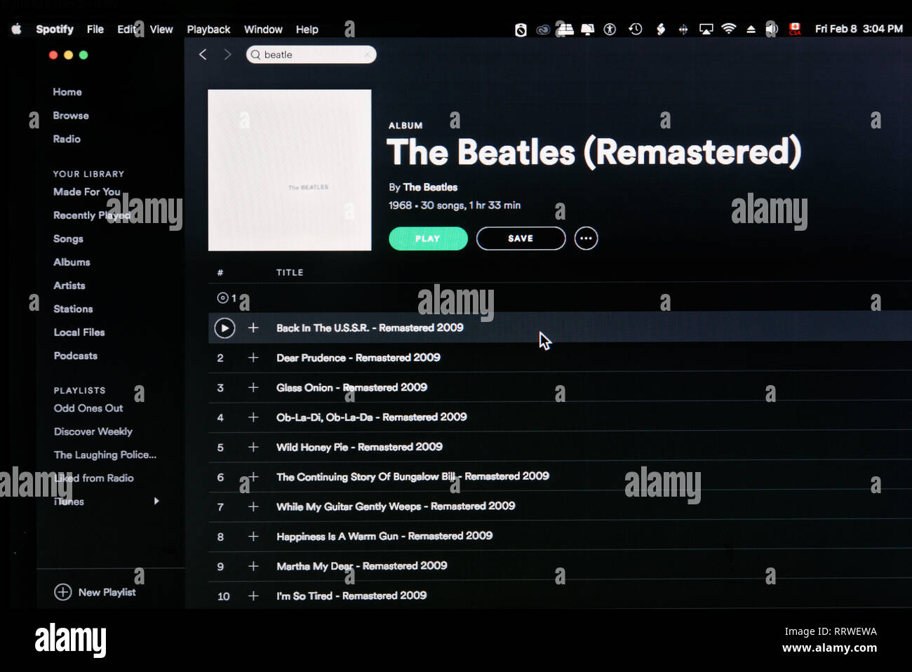 The Beatles White Album Spotify page - Stock Image