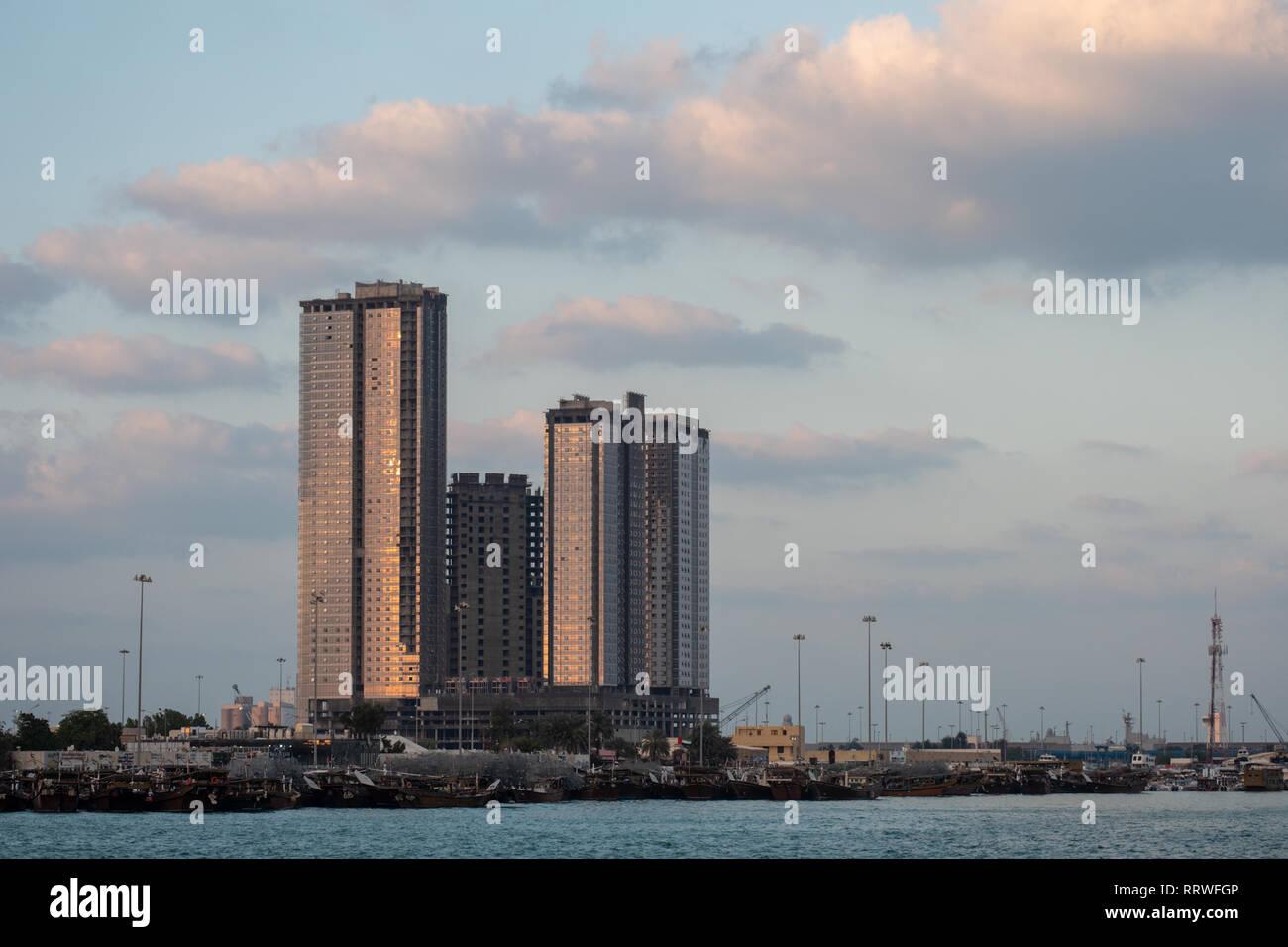 Abandoned towers at Zayed Port Abu Dhabi UAE - Stock Image