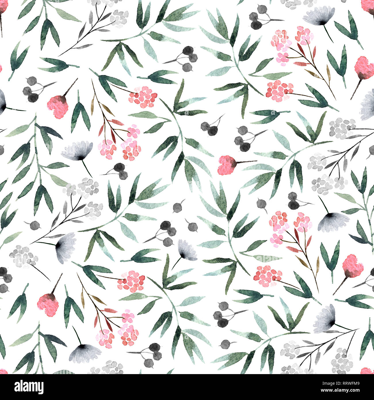 Isolated On White Background Seamless Pattern With Flora For