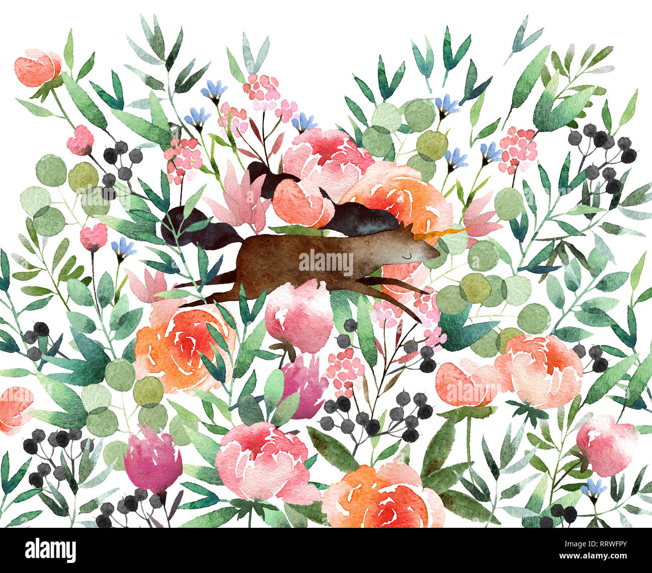 Beautiful watercolor flower background with unicorn isolated on white background. Floral watercolor background for design, postcards, banners, emblems Stock Photo