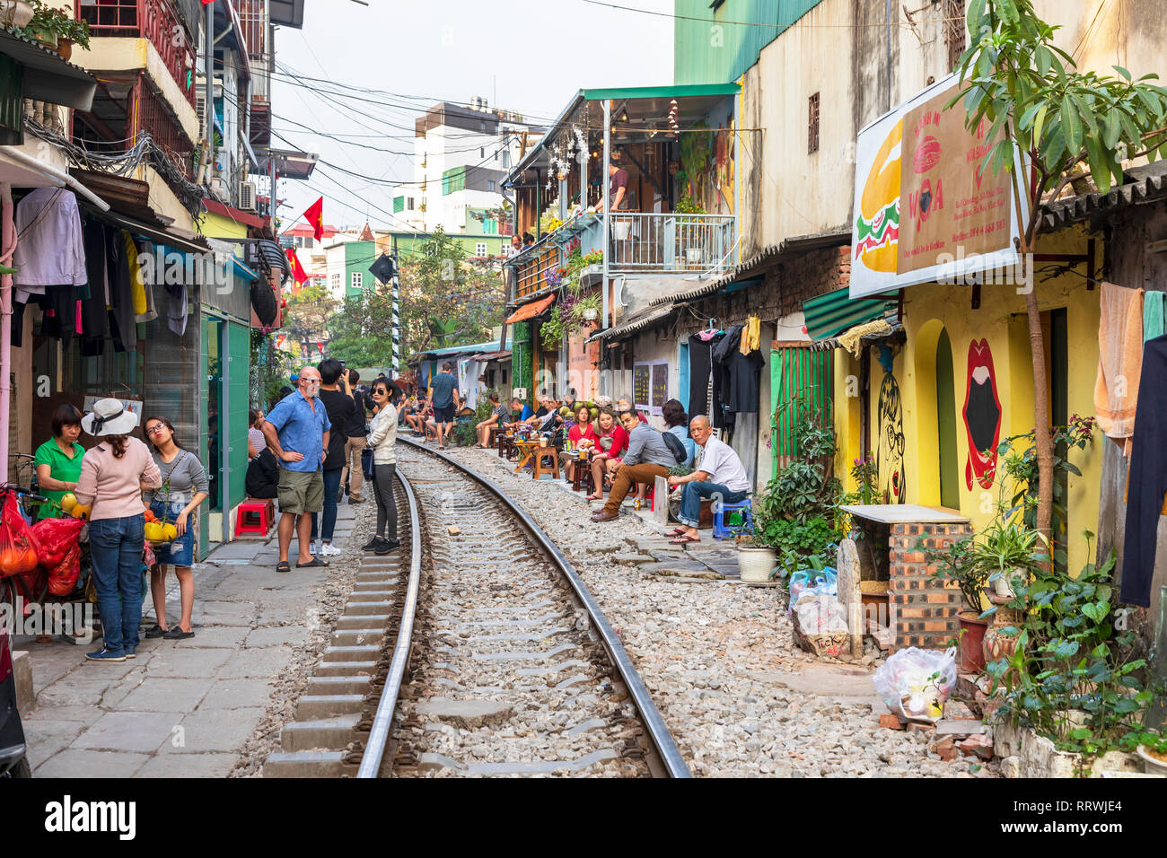 View of Hanoi train street between Le Duan and Kham Thin Street in Hanoi old quarter, Hanoi, Vietnam, Asia - Stock Image