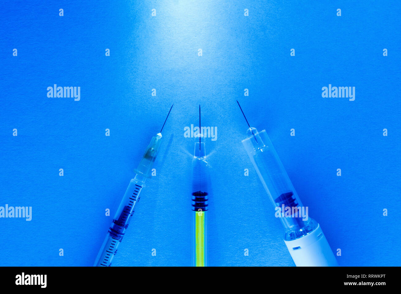 set of syringes. concept of vaccination of people and animals. - Stock Image