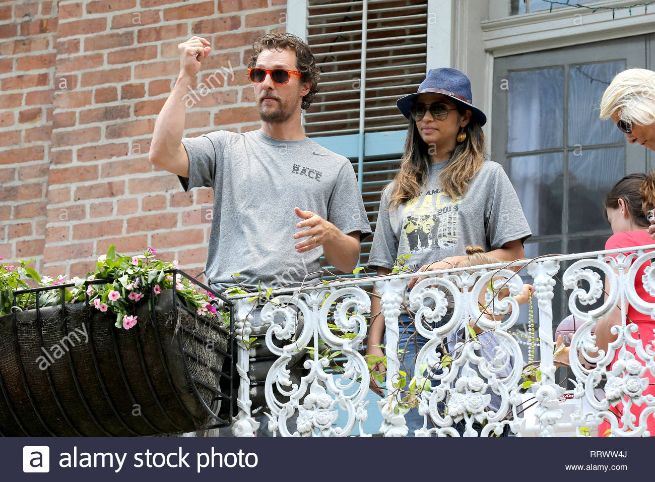 New Orleans La Brad Pitt And Matthew Mcconaughey Toss A Football