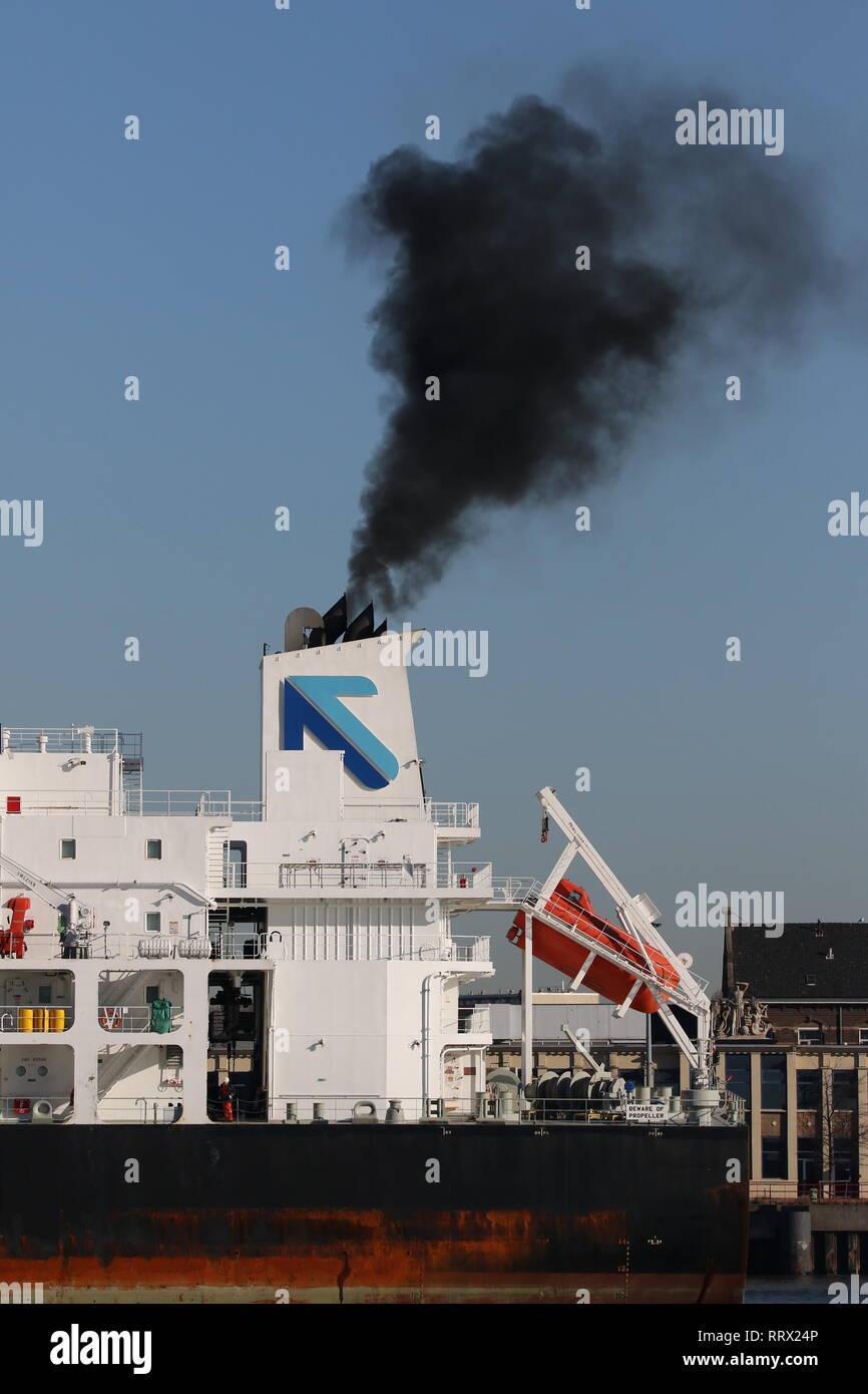 The tanker Tenacity leaves the port of Rotterdam on 15 February 2019. Stock Photo