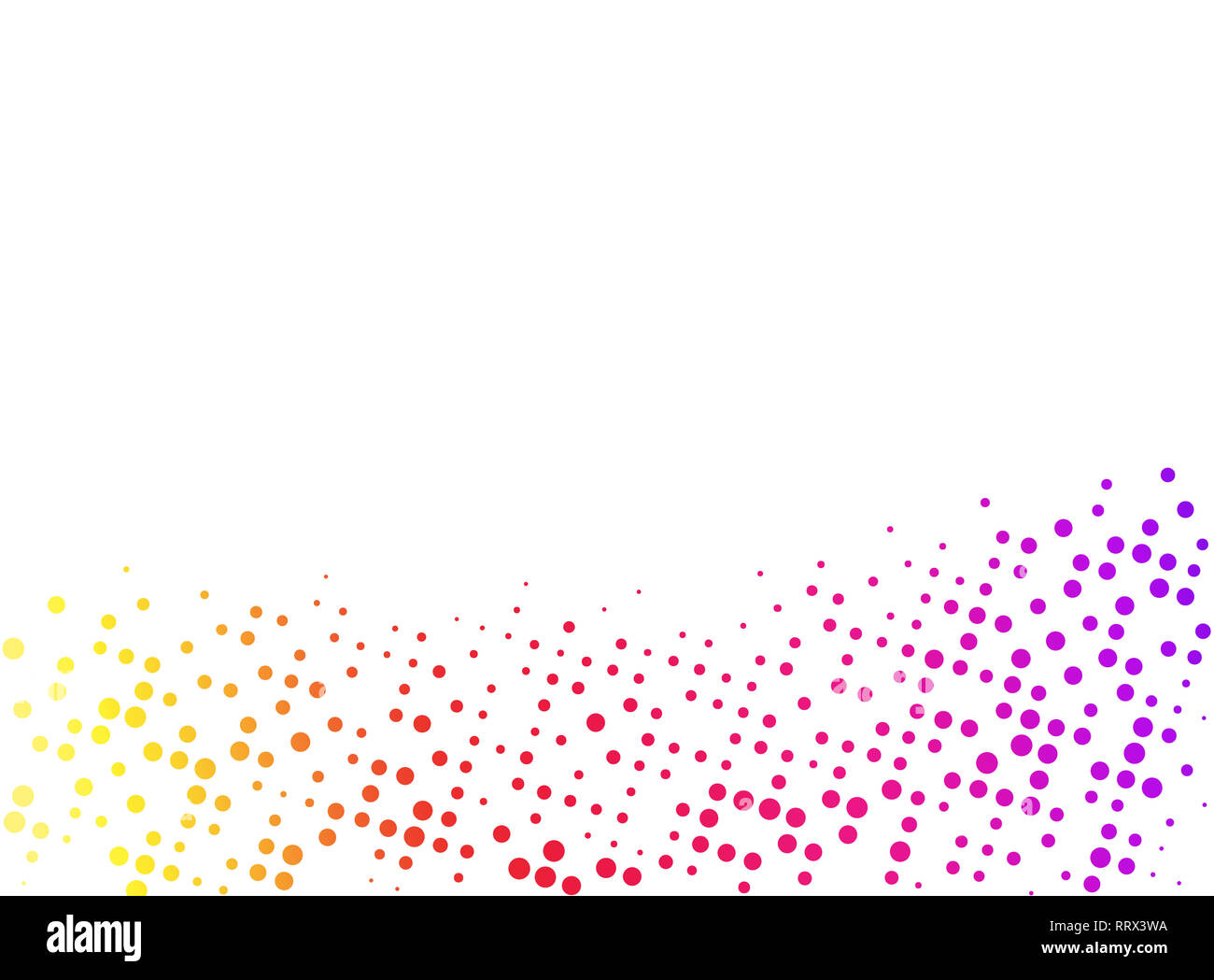 Colorful rainbow colored abstract dotted background with copy space and clipping path. Creative halftone pattern, design template and illustration. - Stock Image