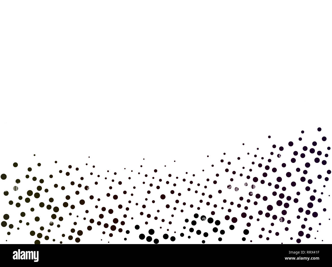 Black abstract dotted background with copy space and clipping path. Creative halftone pattern, design template and illustration on white background. - Stock Image