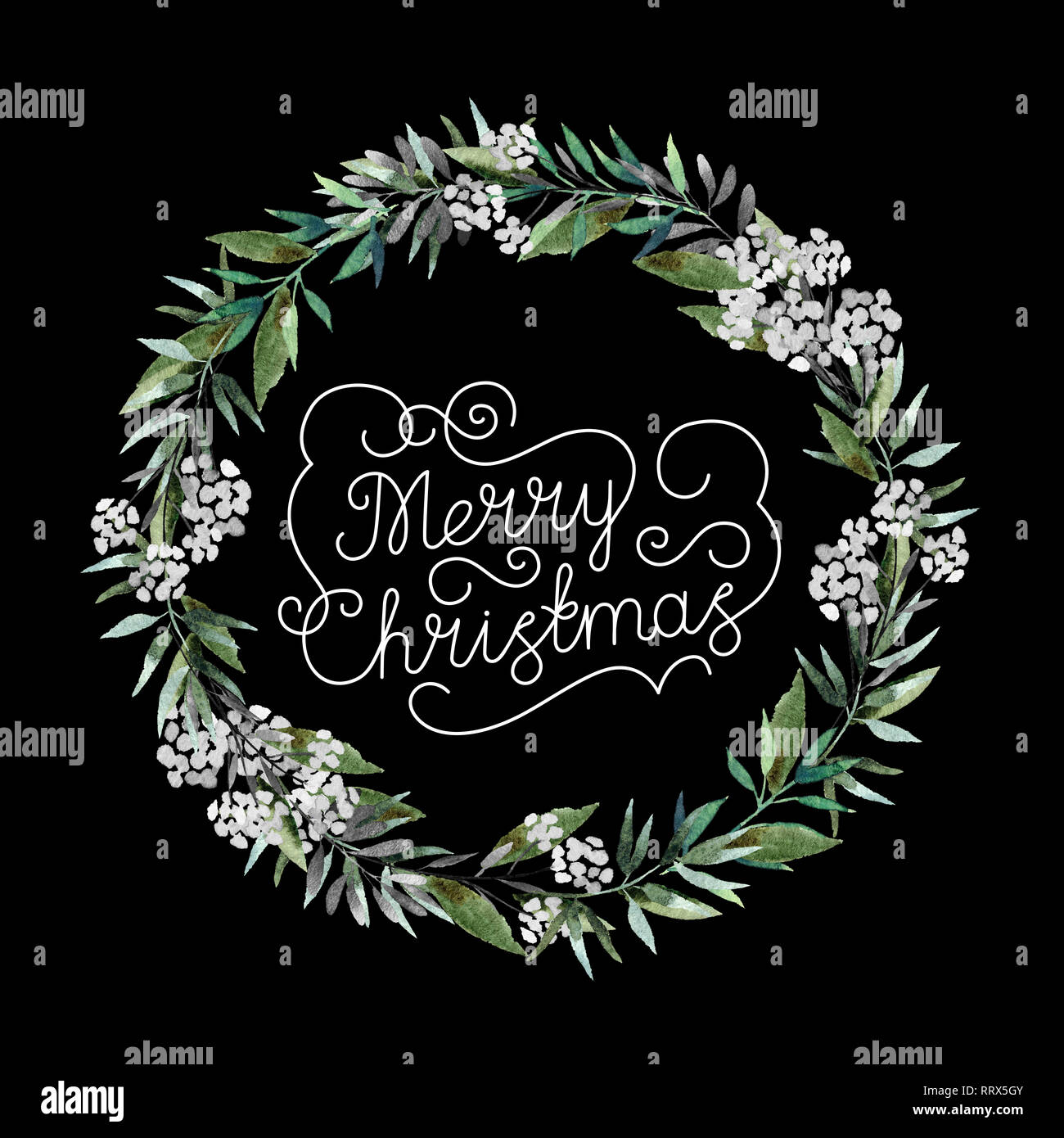 Beautiful Watercolor Christmas Wreath With Inscription Merry