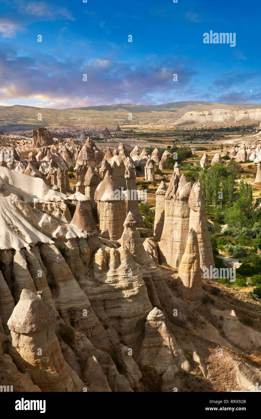 """Pictures & images of the fairy chimney rock formations and rock pillars of """"love Valley"""" near Goreme, Cappadocia, Nevsehir, Turkey Stock Photo"""