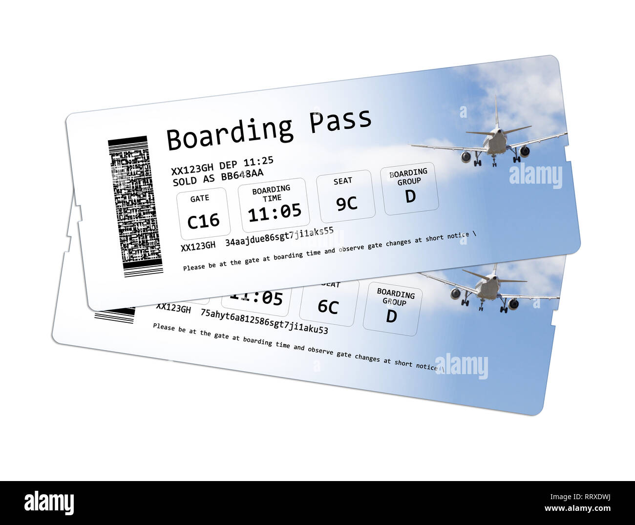767dc66227c Airline boarding pass tickets isolated on white The image is totally  invented and does not contain