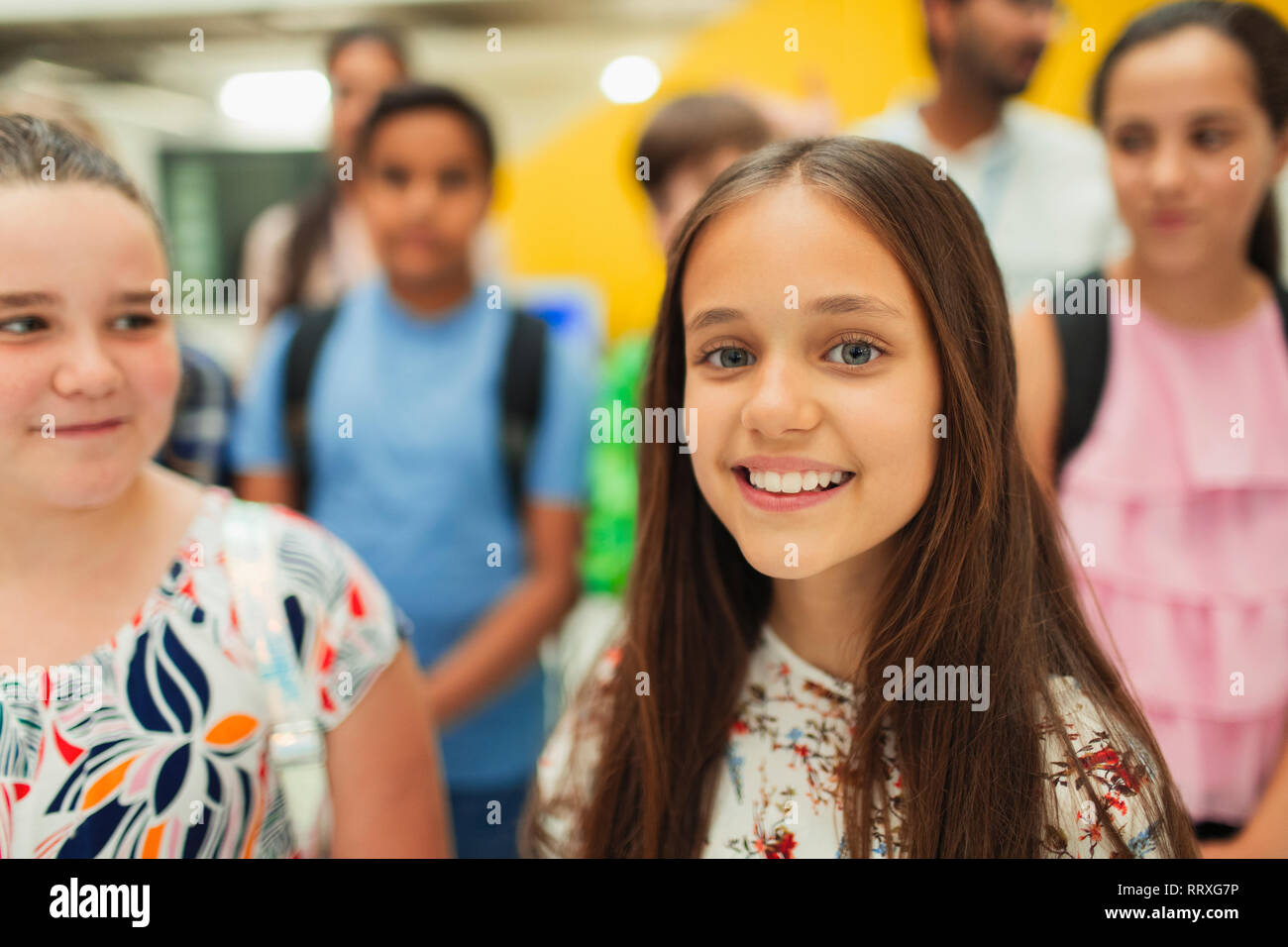 Portrait confident, smiling junior high girl student Stock Photo