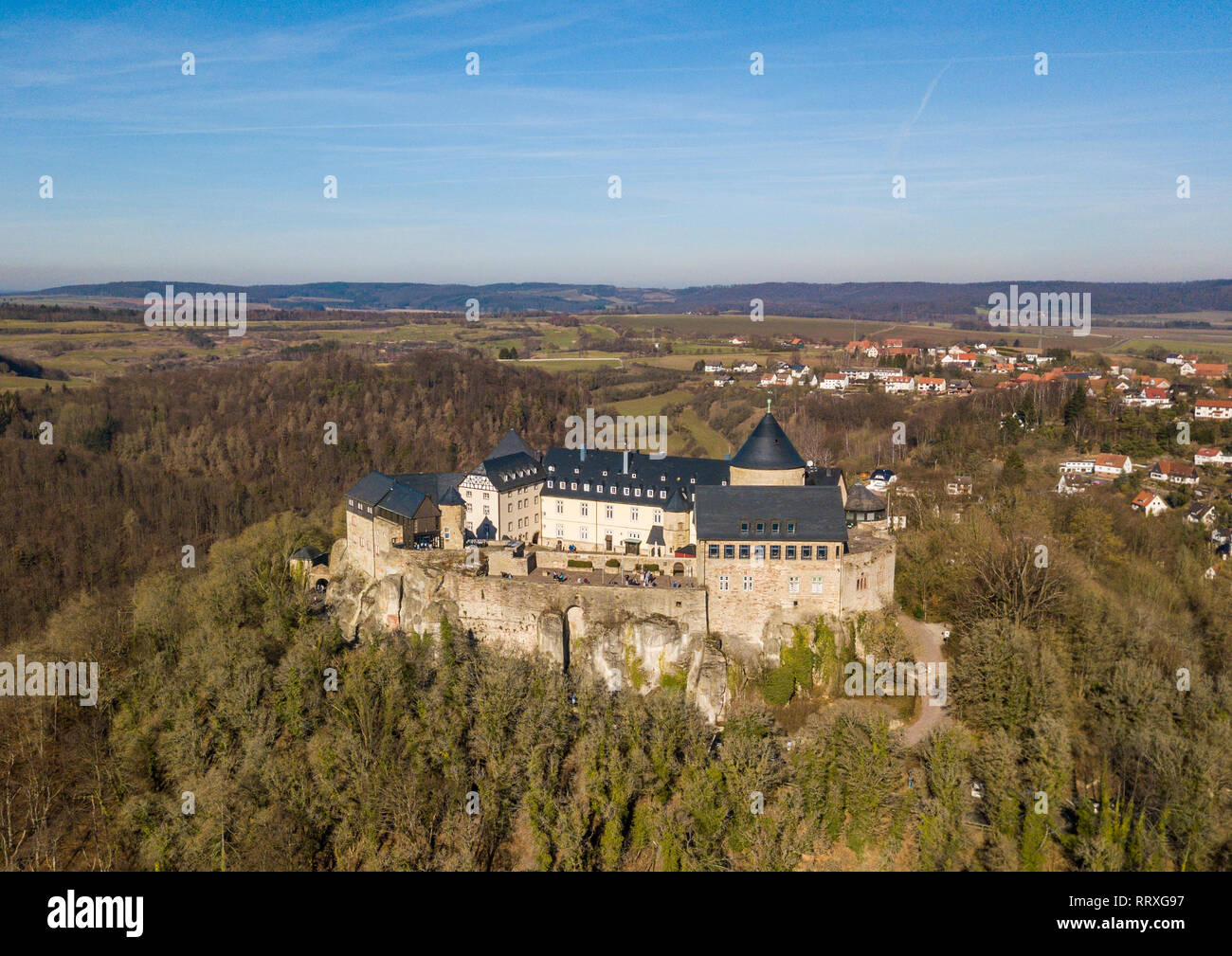 Aerial view of Waldeck castle in the Edersee Nature Park, Germany - Stock Image