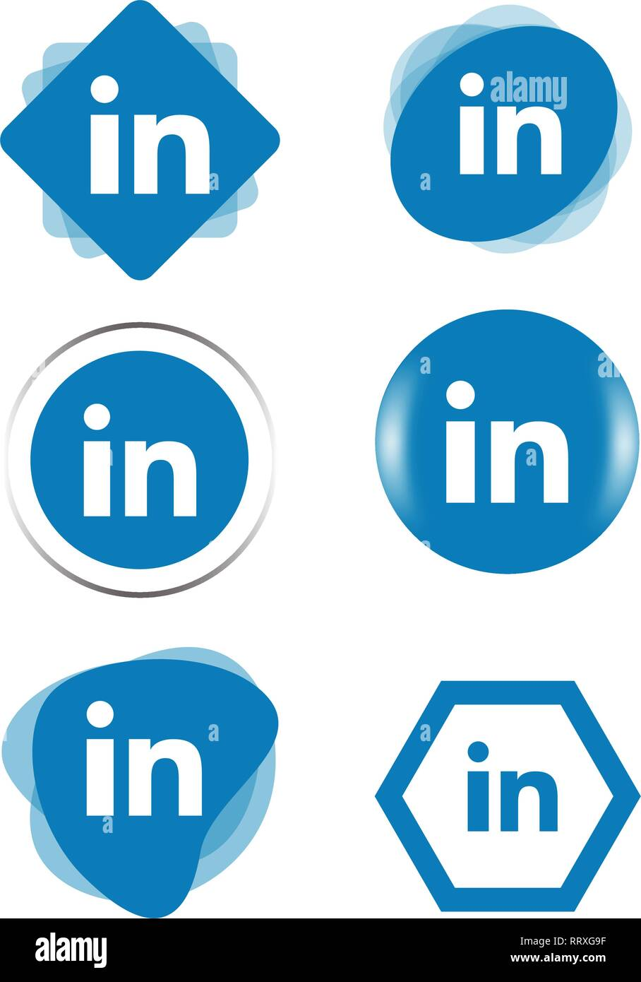 Linkedin Linked In Icon Logo Collection Set Social Media