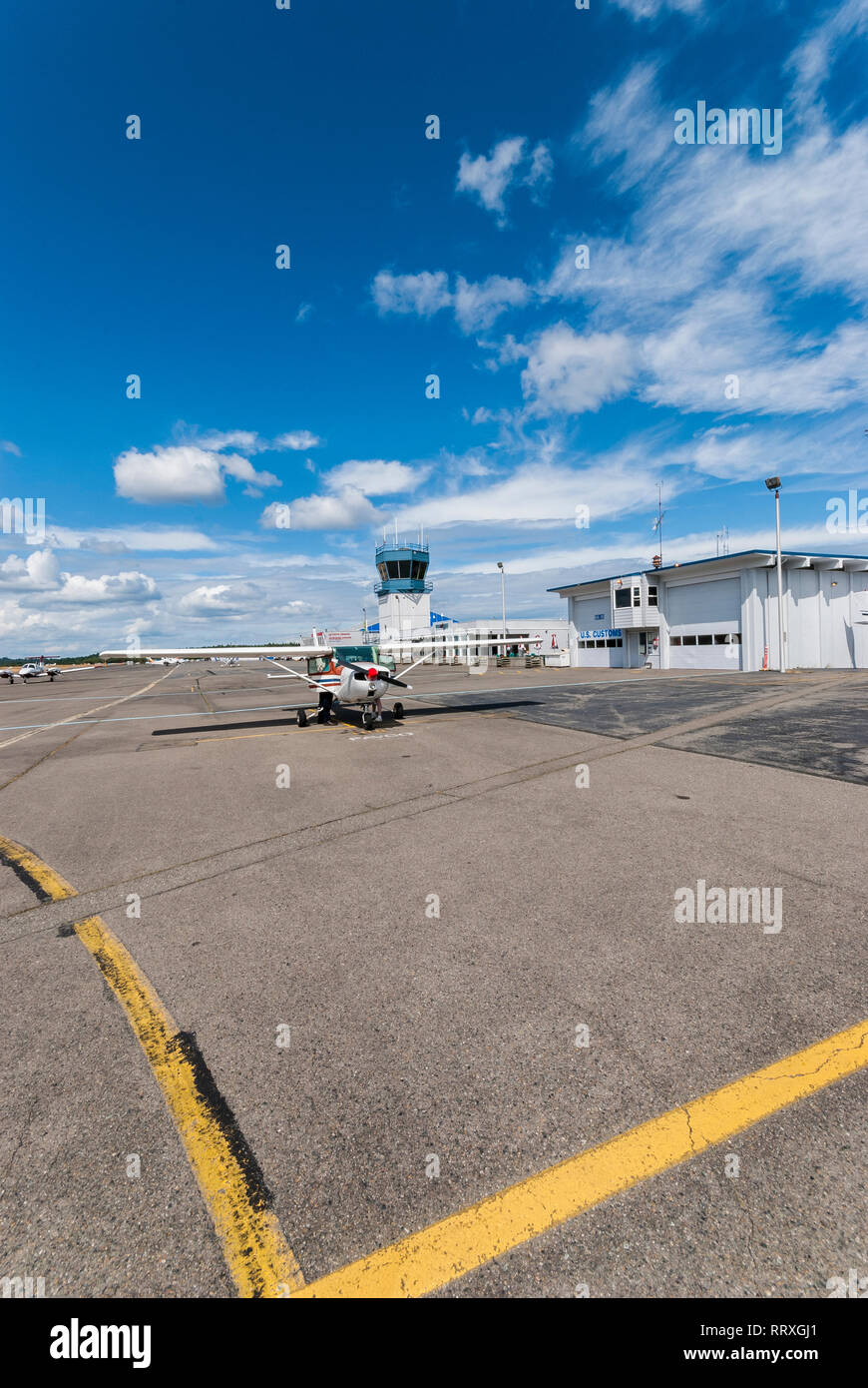 A high-wing small plane at Gig Harbor, Washington airport. - Stock Image