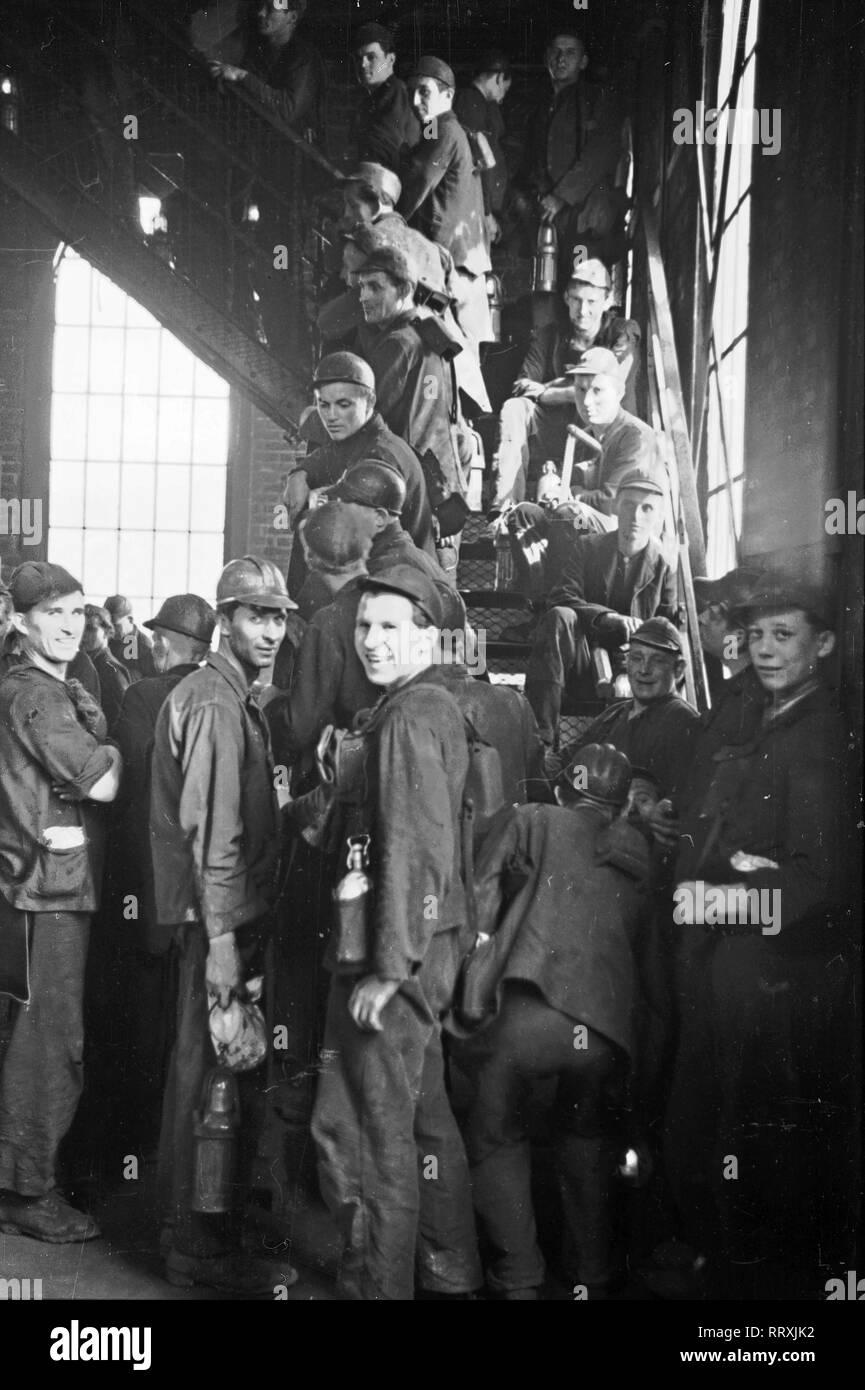Germany - Bergarbeiter in einer Zeche im Ruhrgebiet, BRD 1952 - Stock Image