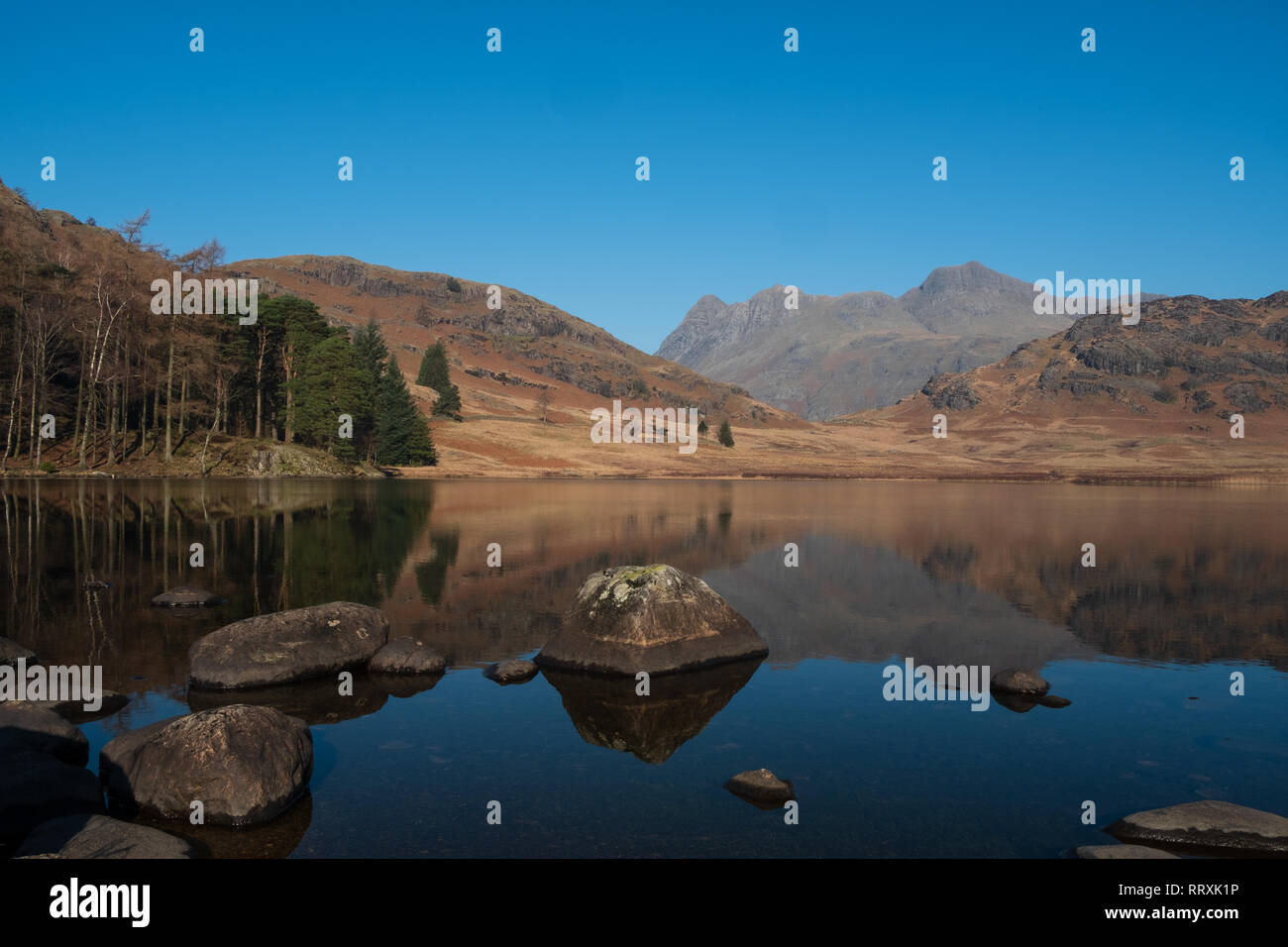The Langdale Pikes reflected in Blea Tarn on a clear day, Lake District, UK Stock Photo