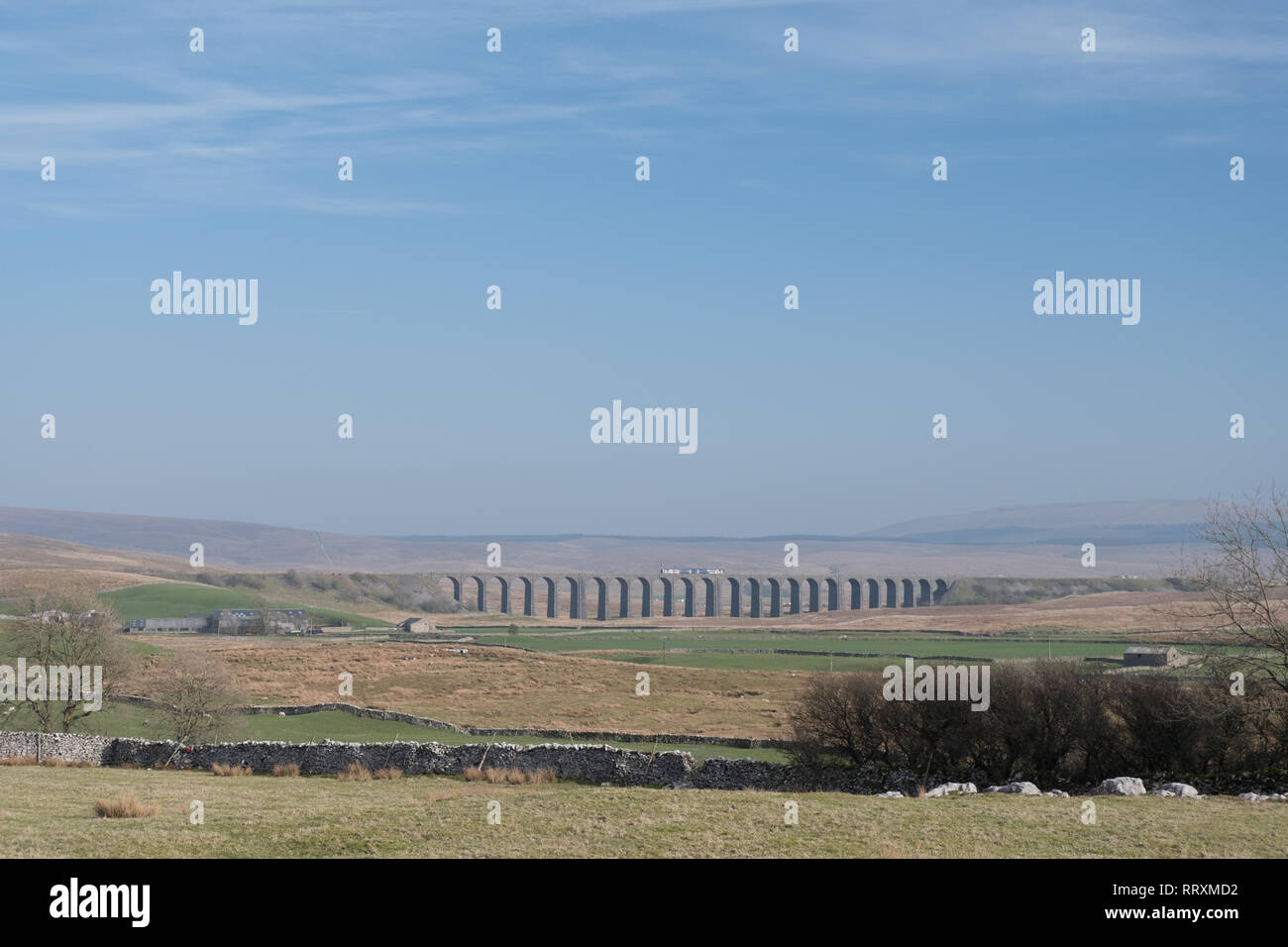 Ribblehead viaduct from the Winterscales dale below Whernside in the Yorkshire Dales - Stock Image