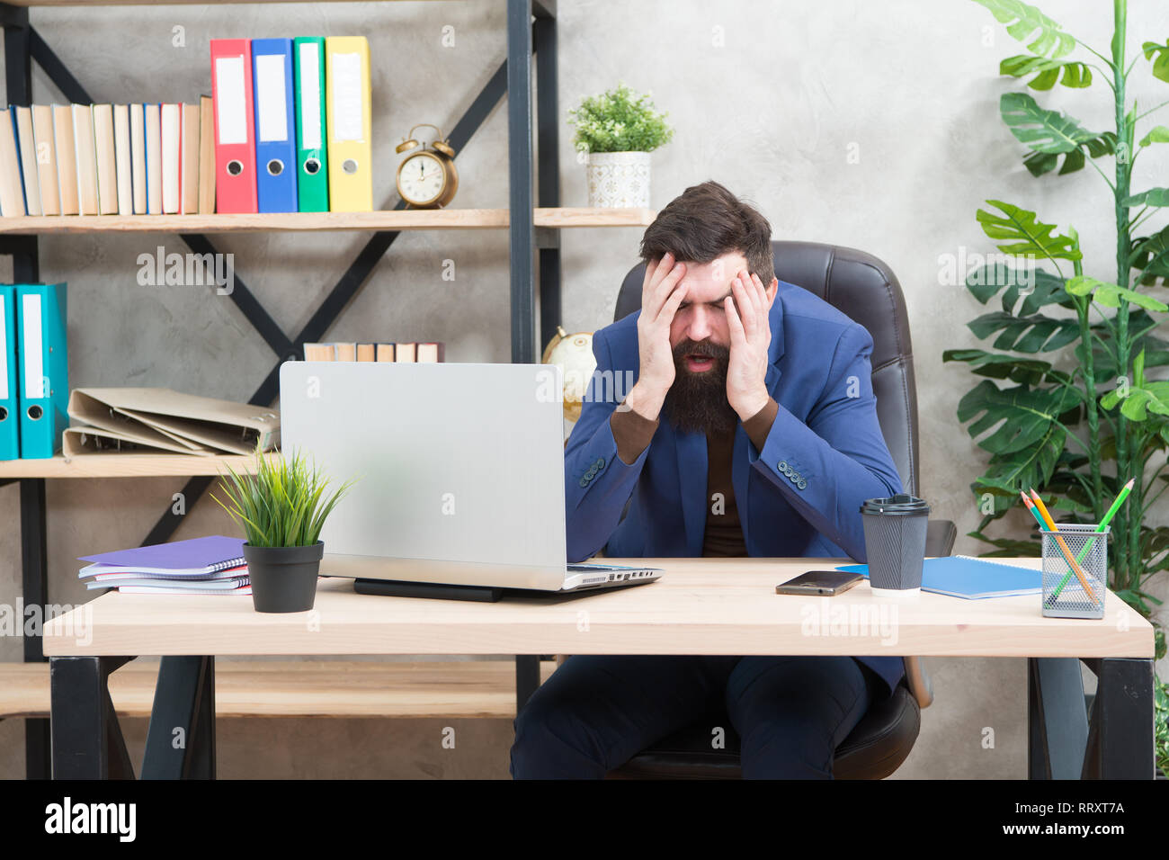 Unforgivable mistake. Falling stock prices. Man bearded boss sit office with laptop. Manager solving business problems online. Business man failed. Risky business. Broker and financial indicators. - Stock Image