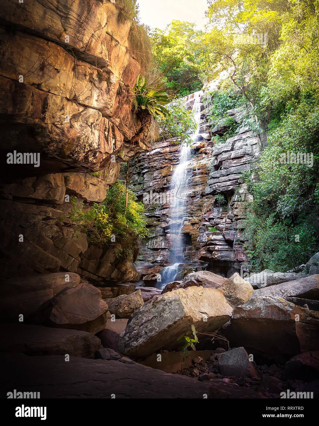 Mosquito Waterfall in Chapada Diamantina - Bahia, Brazil - Stock Image