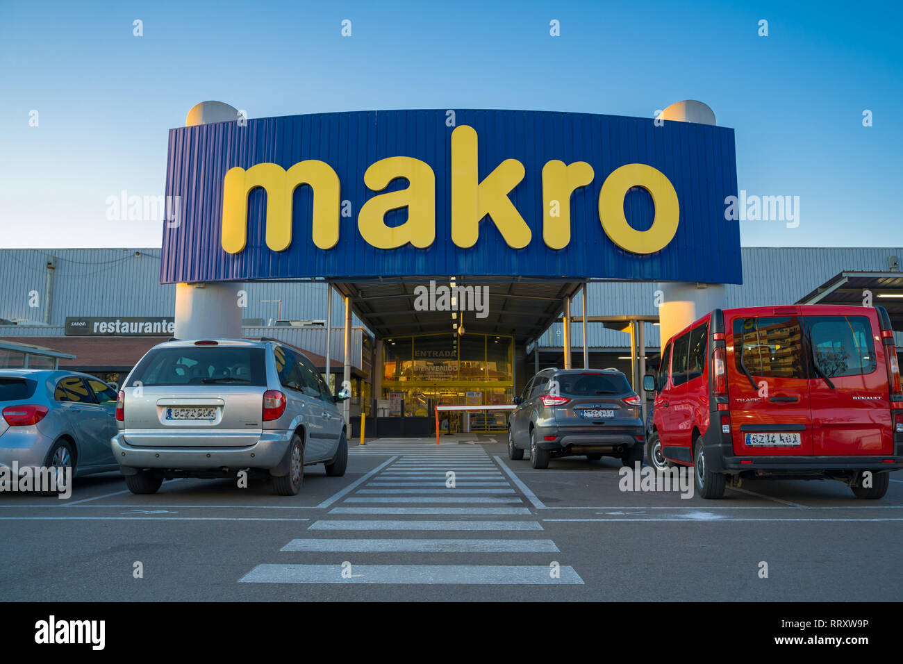Valencia,Spain - February 26 2019: Warehouse club, wholsesale. Makro is an international brand of warehouse clubs, also called cash and carries. - Stock Image