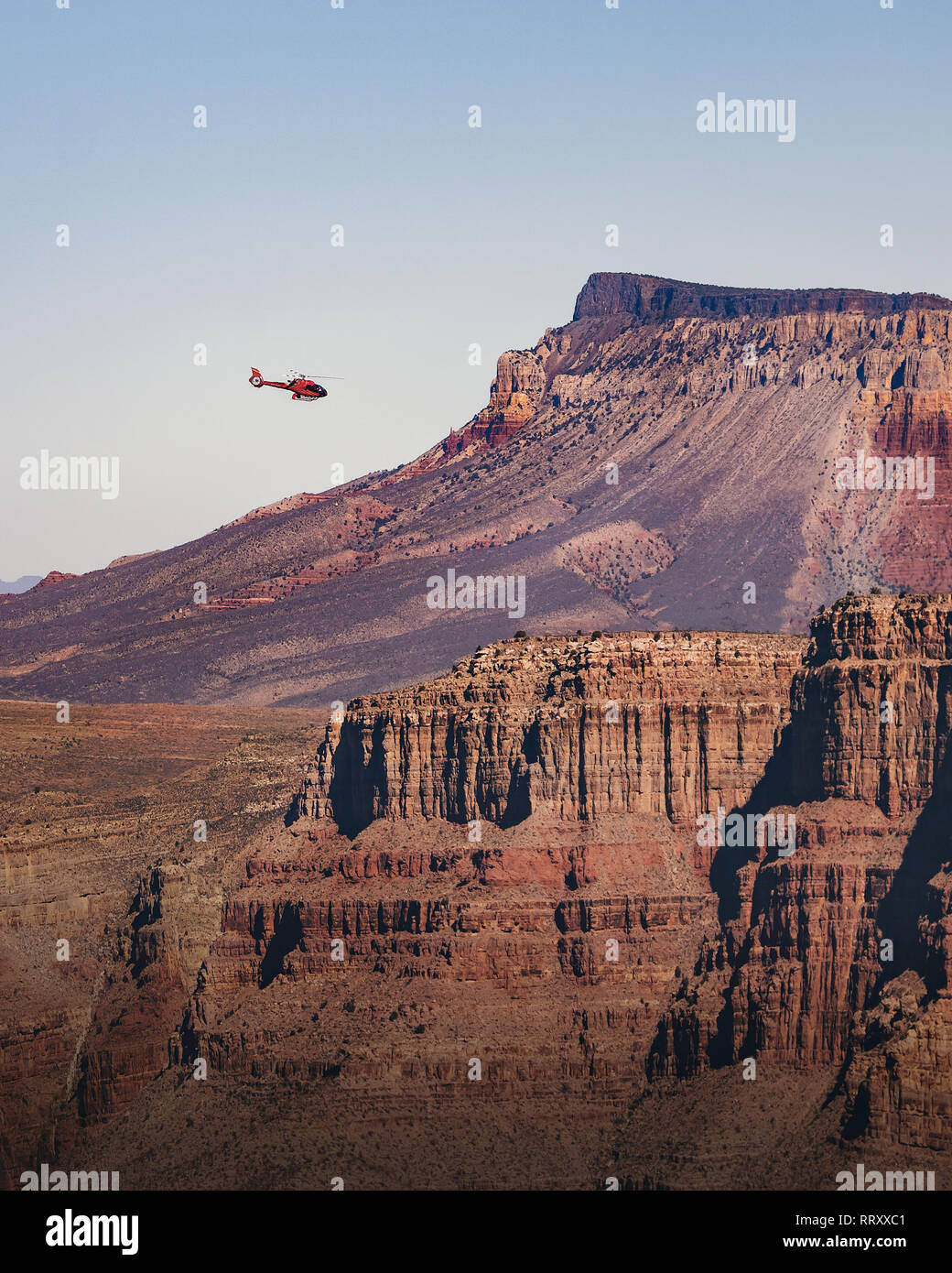 Helicopter Flying Over Grand Canyon West Rim Arizona Usa