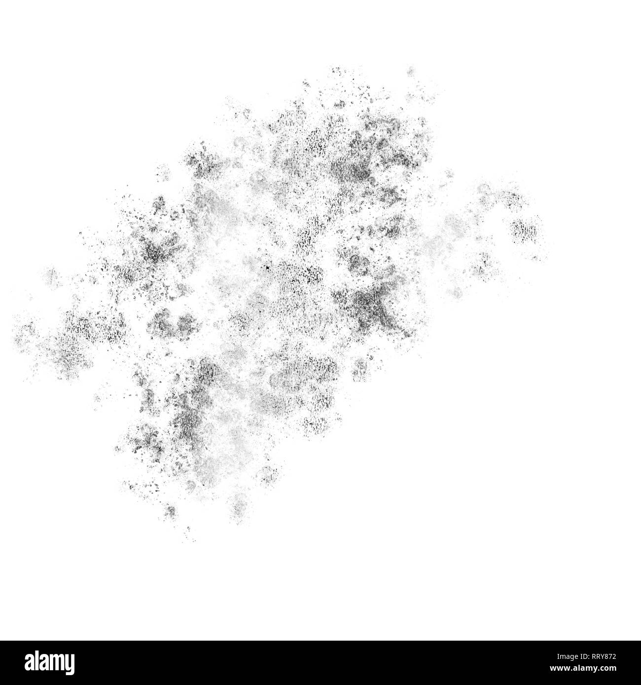 Silver spatter mess isolated on white, Illustration. - Stock Image