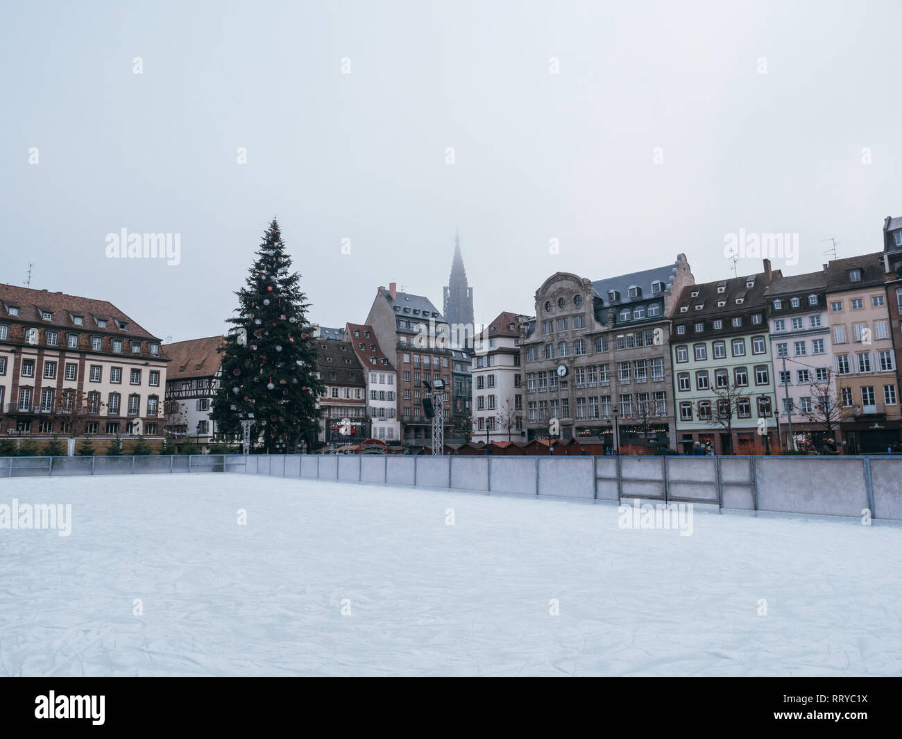 STRASBOURG, FRANCE - DEC 11, 2018: Empty skating rink with Christmas market stall in Place Kelber after the terrorist attack in the Strasbourg Christmas market area - Stock Image