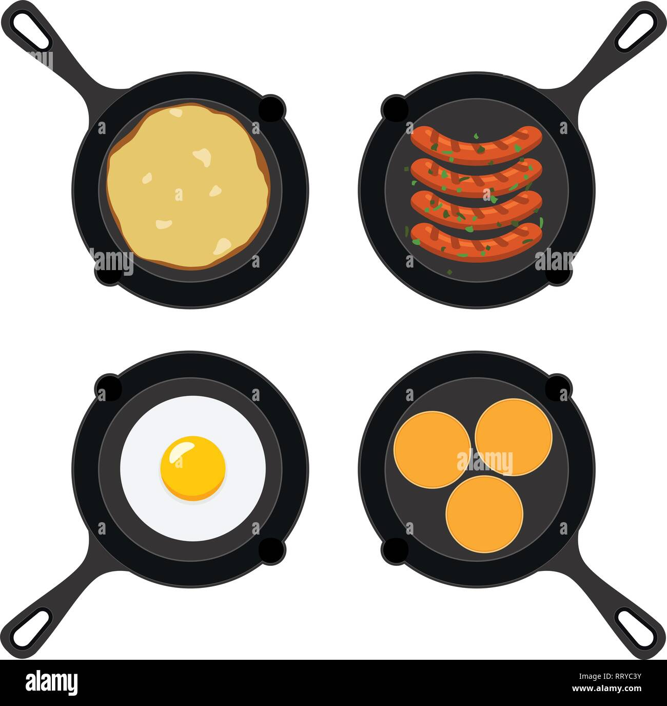 vector set of pans with small pancakes, fried egg, omelet and grilled sausages. collection of breakfast, dinner and supper flat icons isolated on whit - Stock Vector