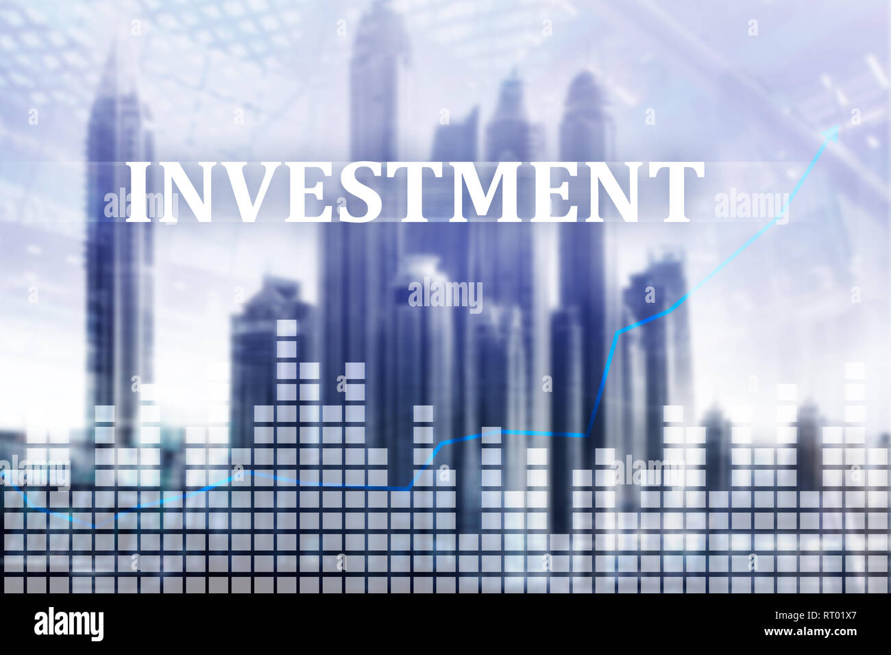 Investment, ROI, financial market concept. city background abstract - Stock Image