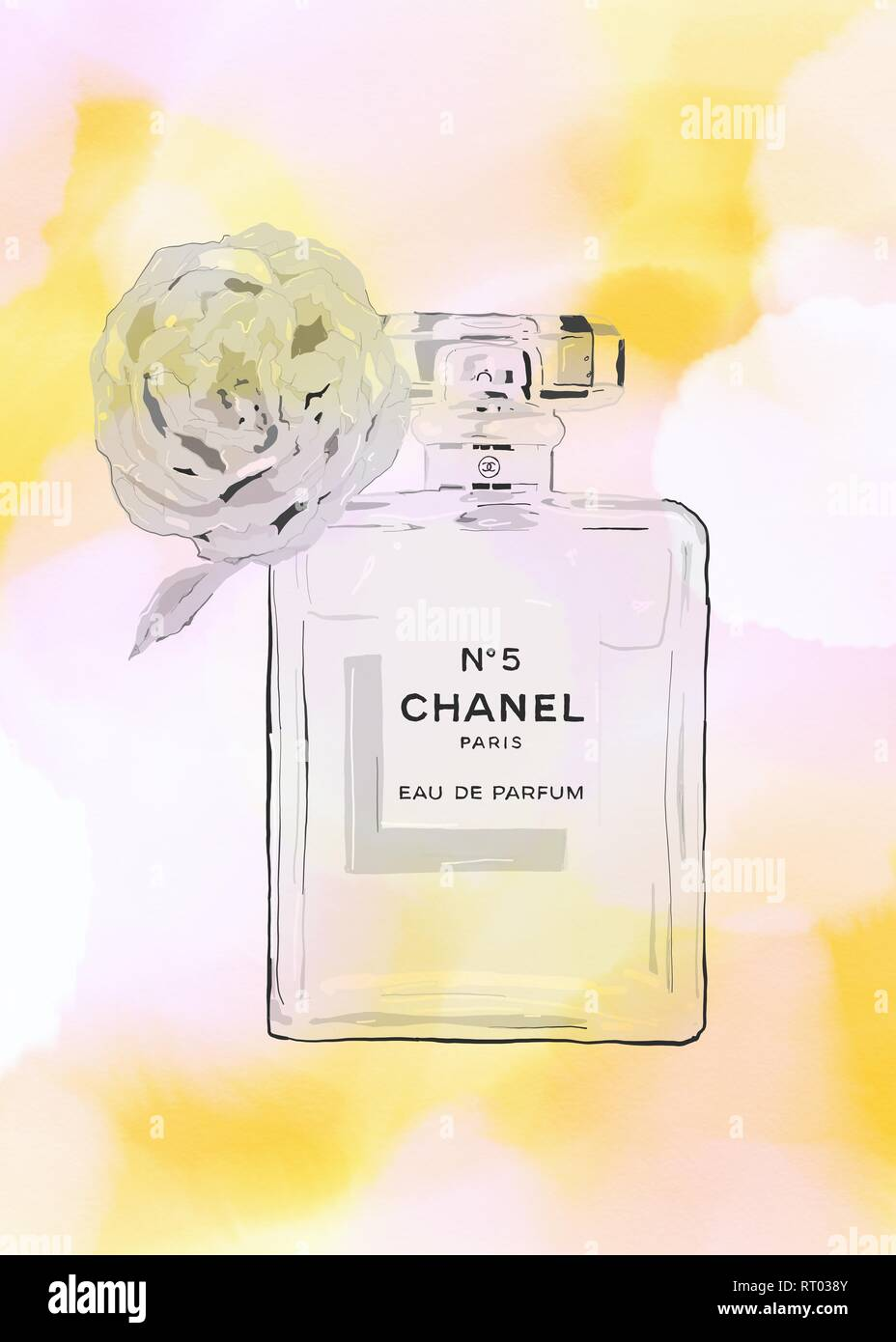 Coco Chanel No 5 Perfume Bottle With Flower Stock Photo 238489131