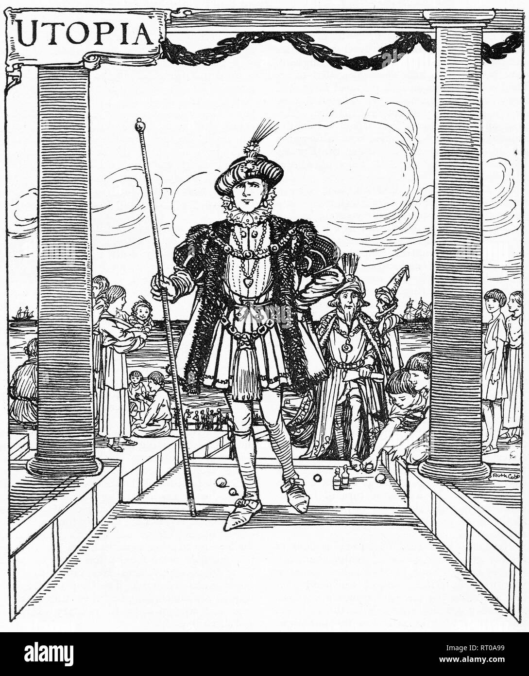 Fanciful engraving of a man being welcomed into Sir Thomas More's Utopia. From Chatterbox magazine, 1925 - Stock Image