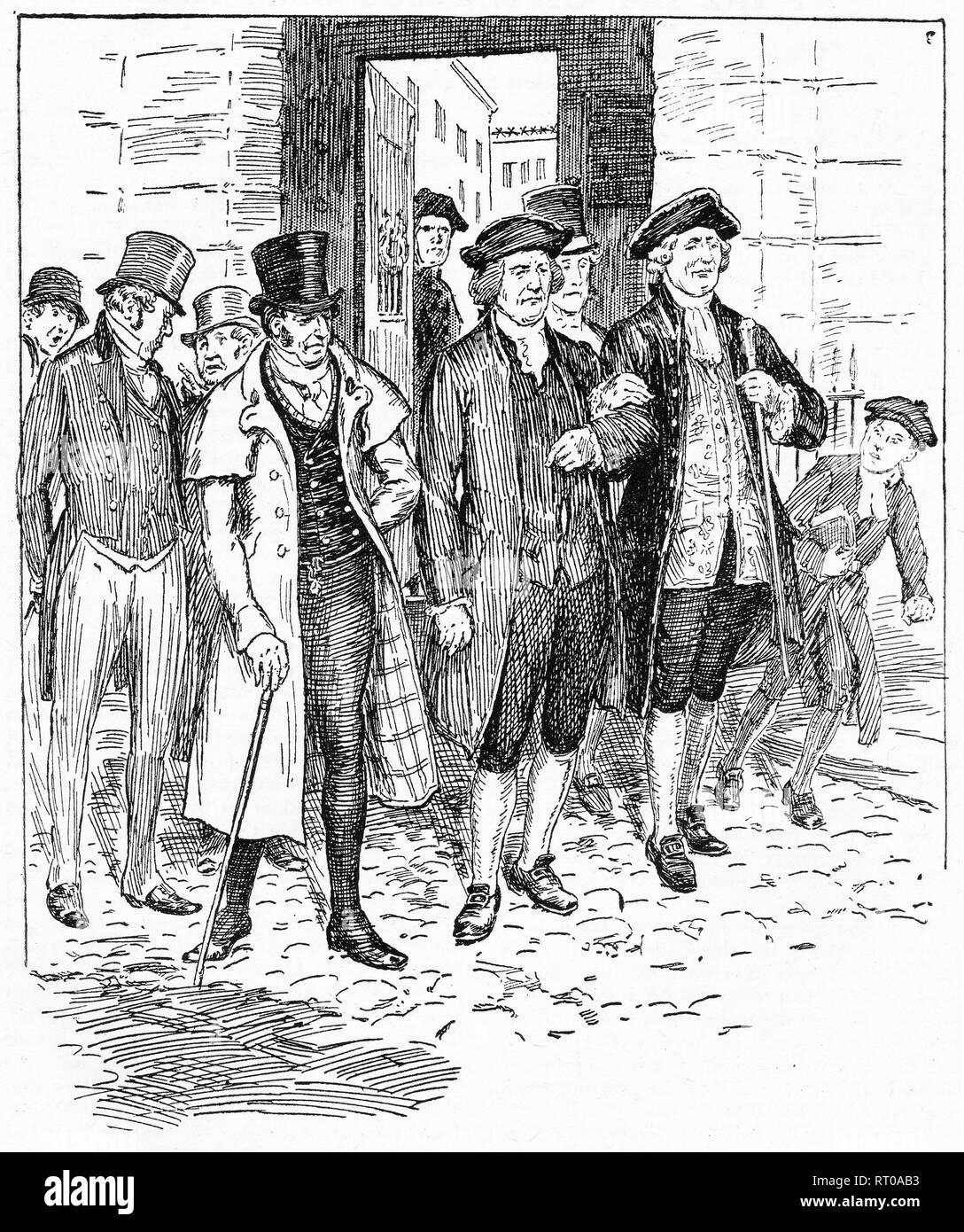 Engraving of several men of high station being greeted in the streets of London with some derision. From Chatterbox magazine, 1905 - Stock Image