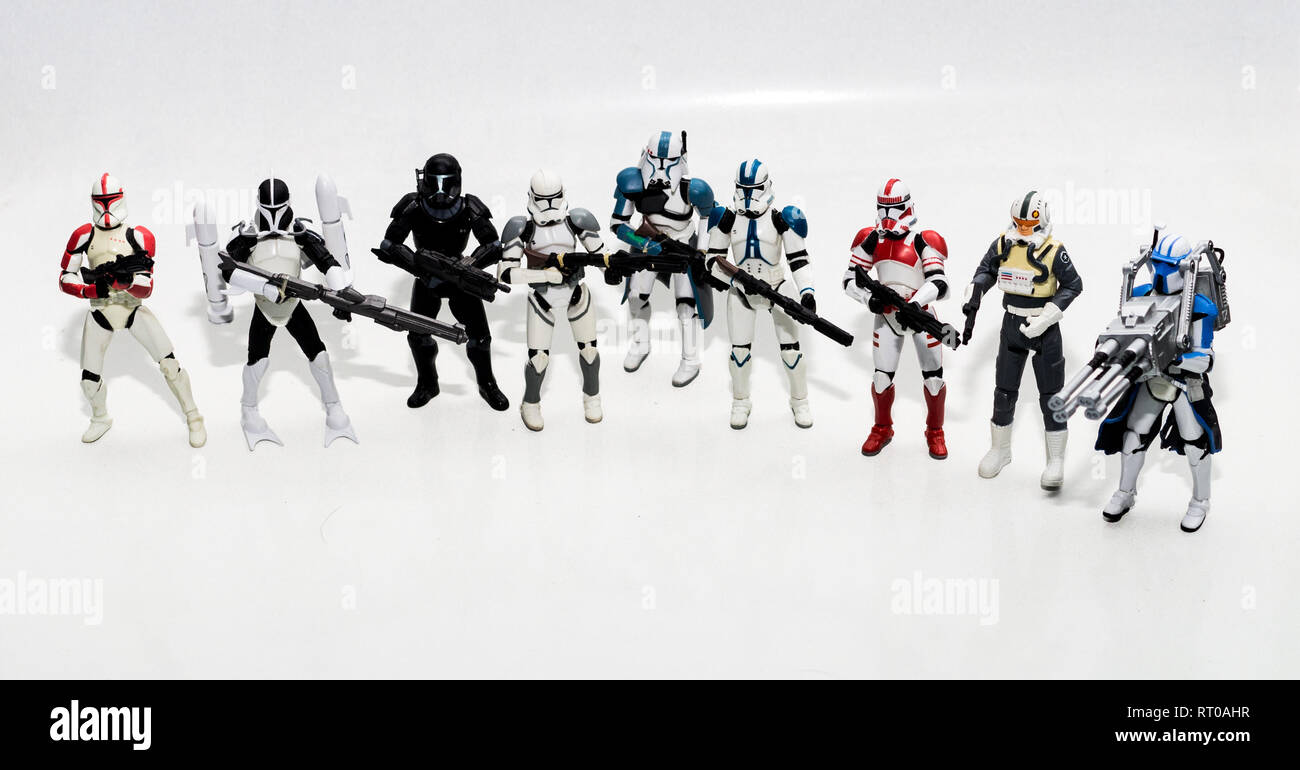 Star Wars Clone Troopers lined up - Stock Image