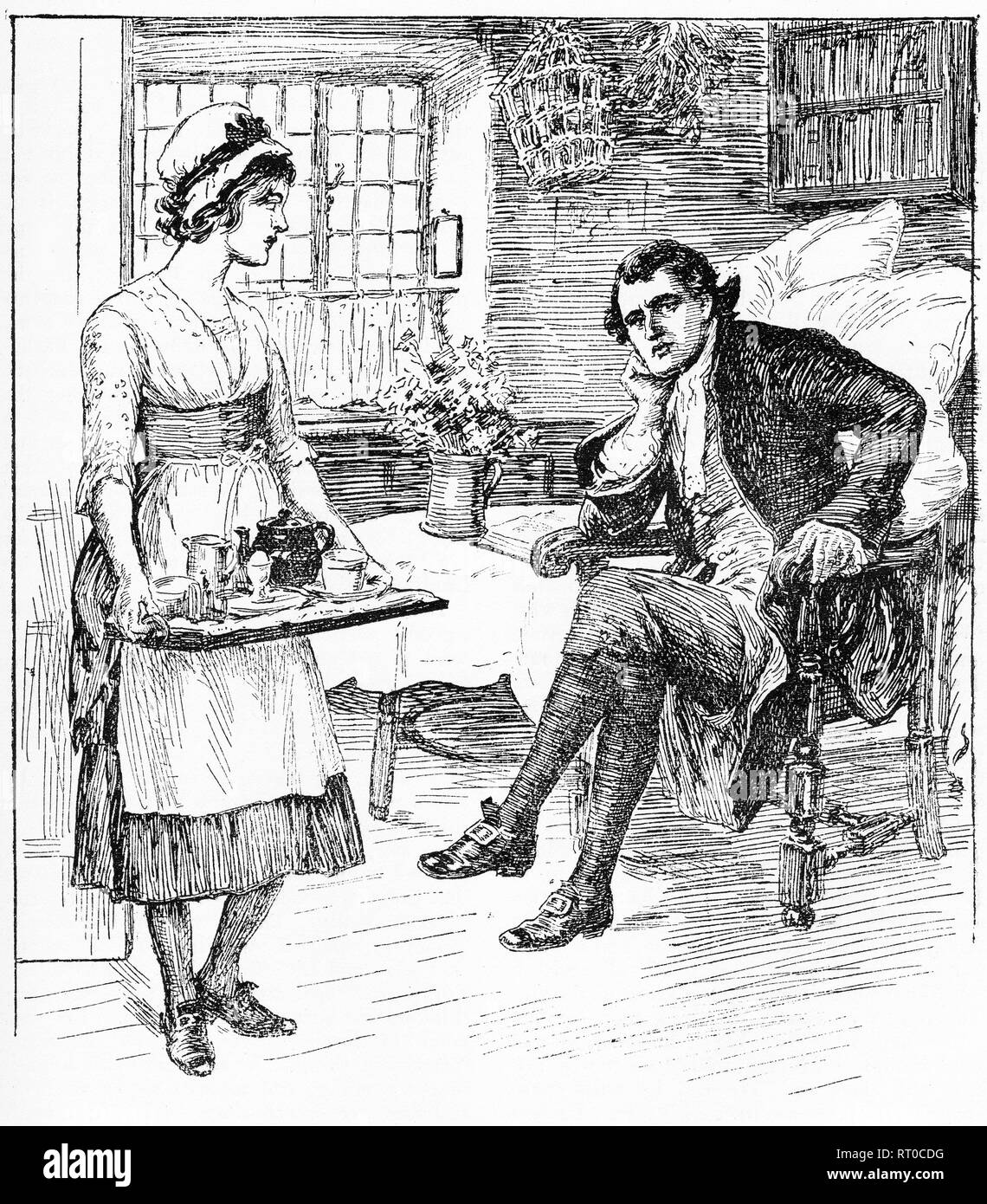 Engraving of a serving maid with her master in the household. From Chatterbox magazine, 1905 - Stock Image