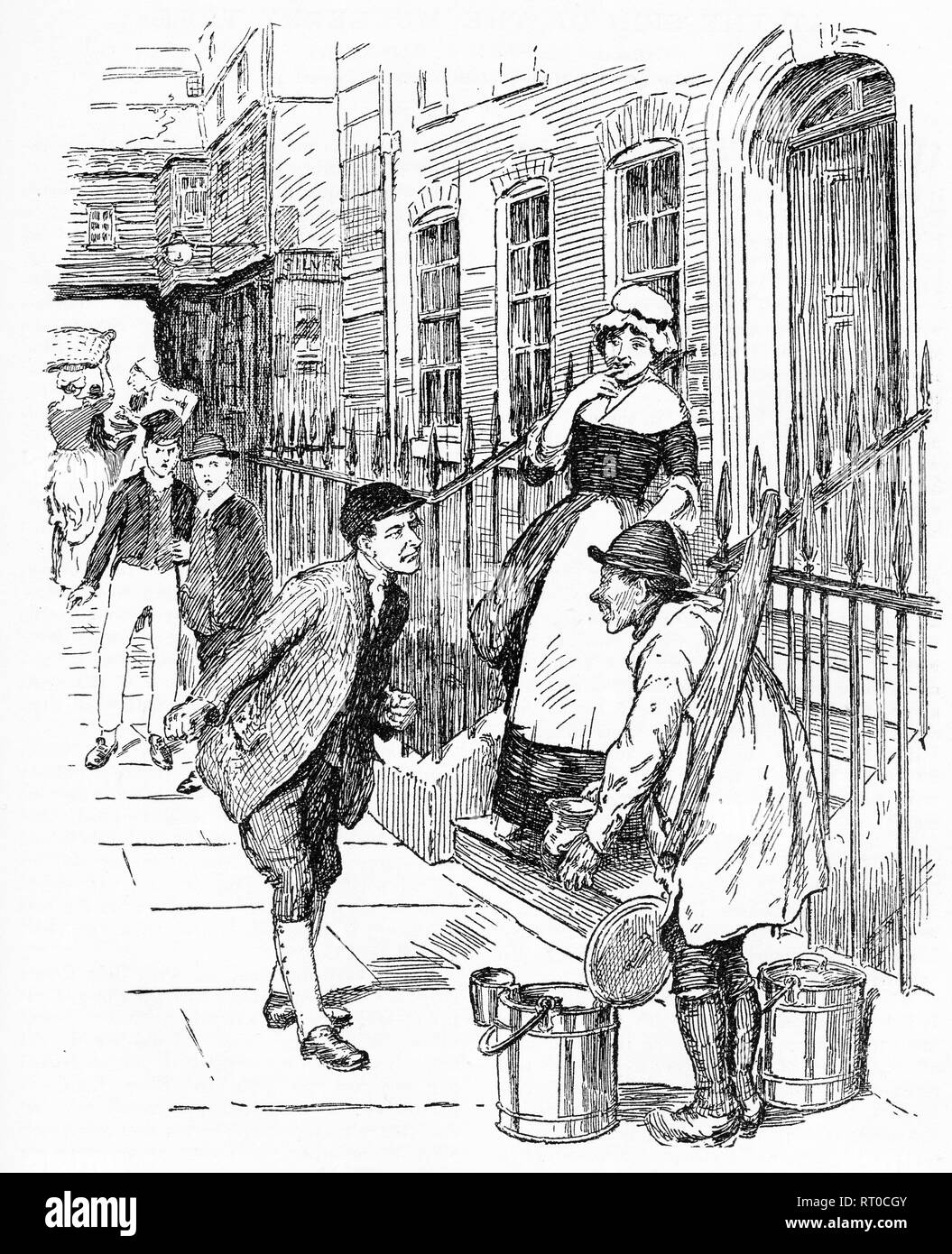 Engraving of an amused maid watching two men arguing in the street. From Chatterbox magazine, 1905 - Stock Image