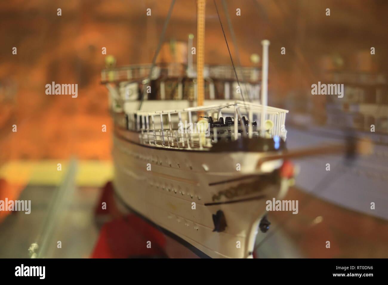 Scaly ship model. White boat layout. Macro closeup. - Stock Image