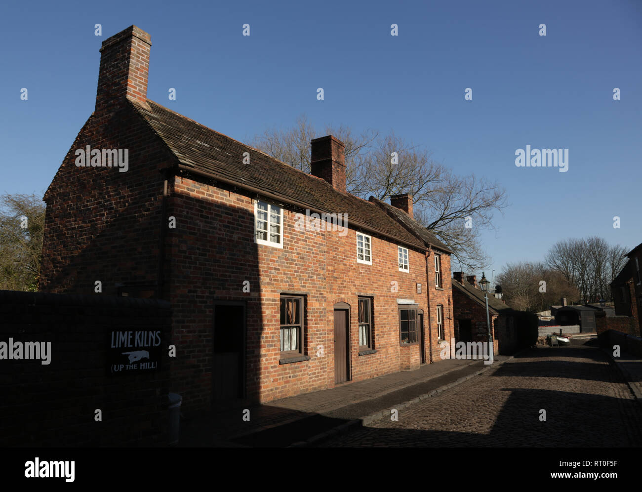 A row of cottages at the Black country living museum, Dudley, West midlands, England, UK. - Stock Image