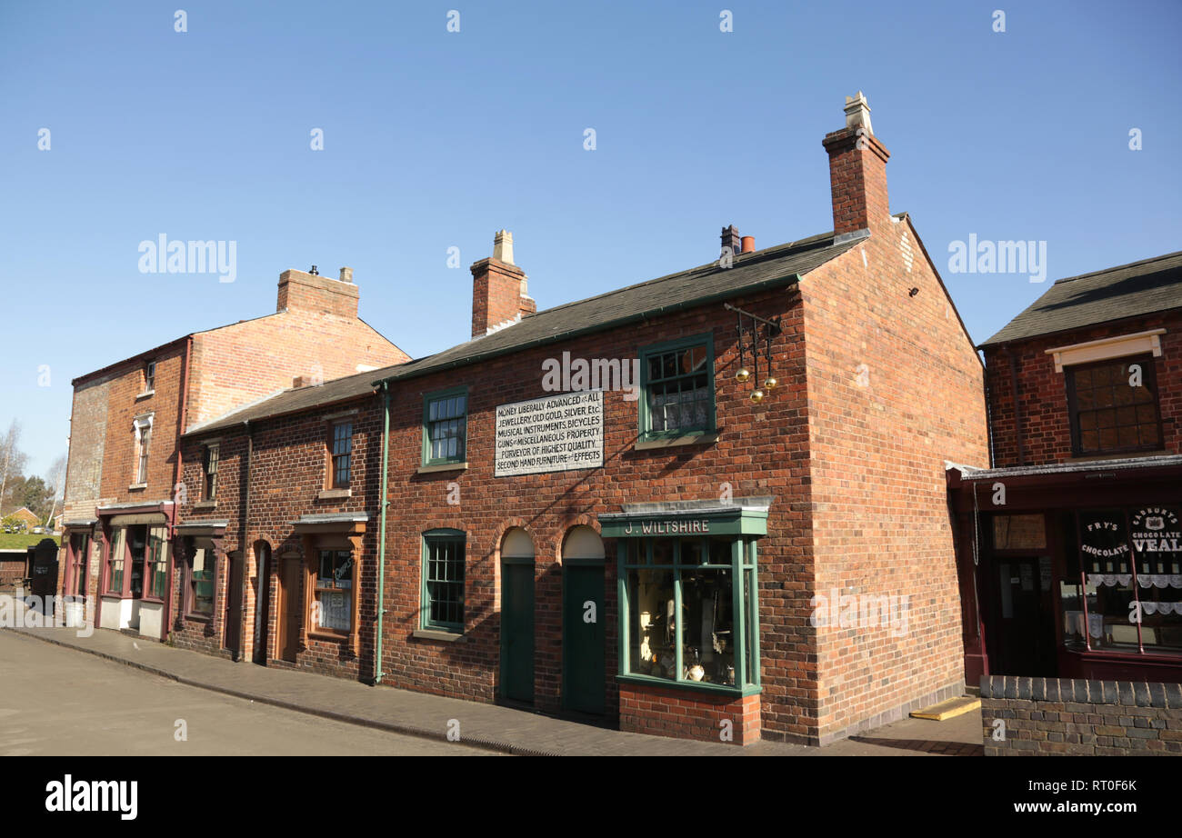 A row of shops at the Black country living museum, Dudley, West midlands, England, UK. - Stock Image