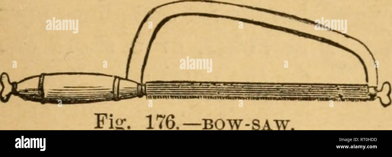 . Barry's Fruit garden. Fruit-culture. [from old catalog]. IMPLEMENTS FOR CUTTING. 475 pruning-knife, with a thin, straight blade, the edge some- times rounded at the point. The liandle is of bone or ivory, and has a thin, wedge-shaped end for raising the bark. Bud- ders have various fan- cies about shape and size; one form is given in figure 182. The Grafting- Chisel.—This is used for splitting large. Please note that these images are extracted from scanned page images that may have been digitally enhanced for readability - coloration and appearance of these illustrations may not perfectly re - Stock Image