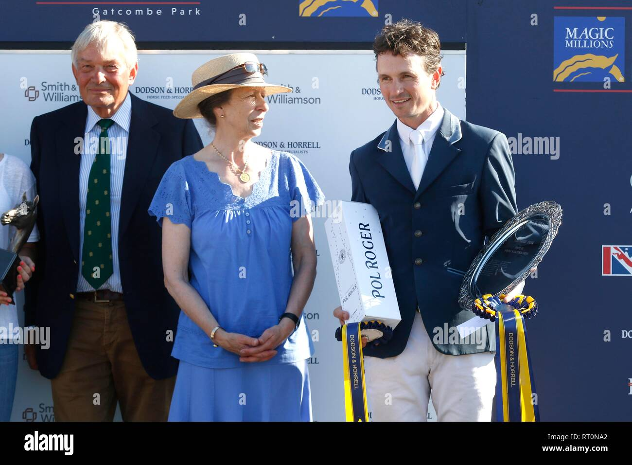 Princess Anne with Francis Whittington, British Novice Champion, at the prize giving on Saturday evening. - Stock Image