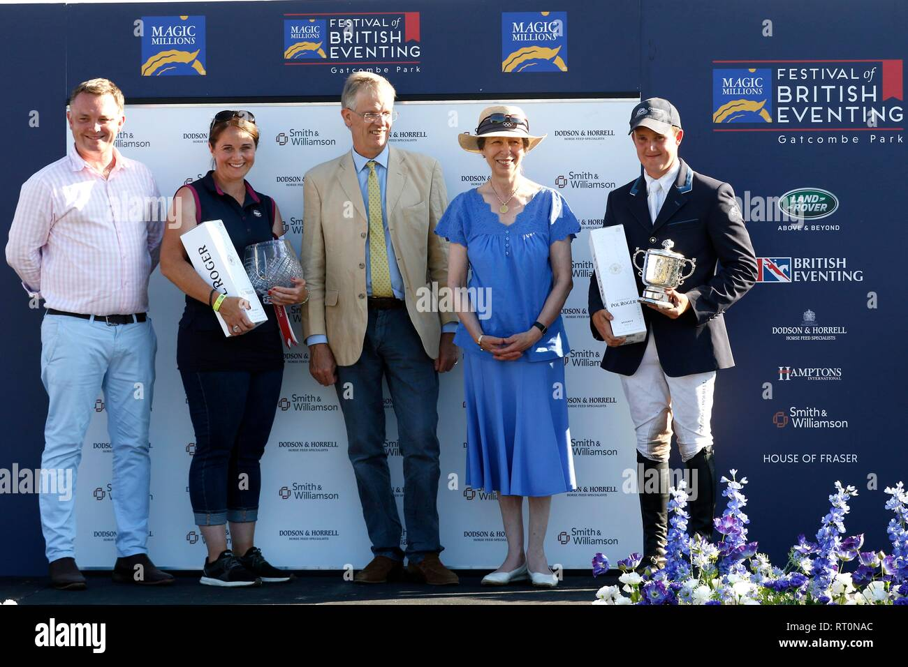 Princess Anne presented trophies to Tom McEwen, right, winning his first national title, the Smith & Williamson British Intermediate Championship on E - Stock Image