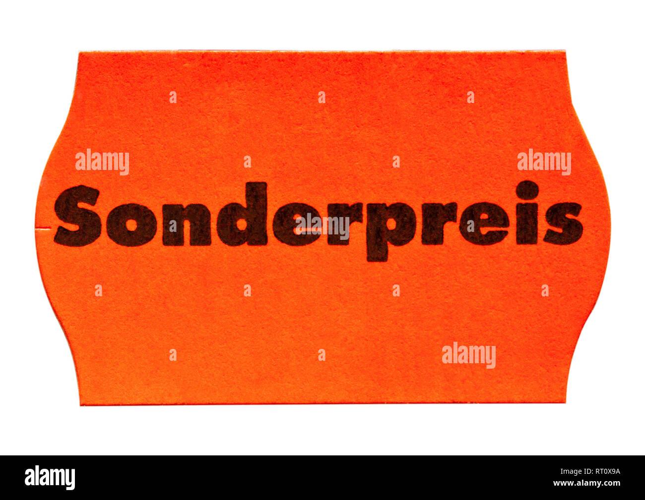 Rotes Sonderpreisschild zum freistellen mit Aufdruck. [(c) Dirk A. Friedrich - Stock Image